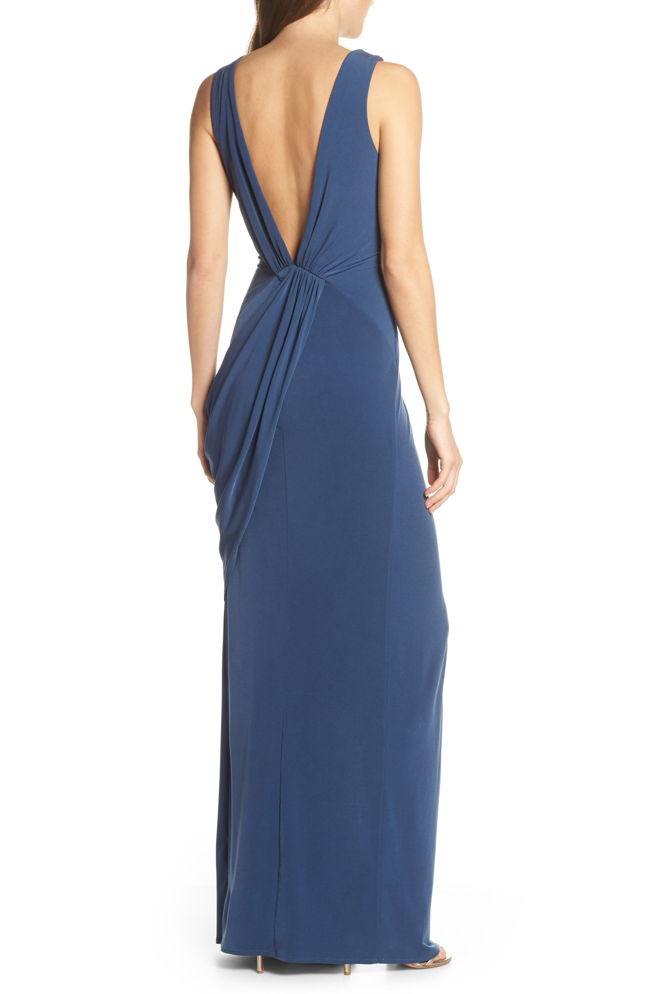 KATIE MAY, Leo Twist Front Evening Dress, Alternate thumbnail 2, color, DEEP SEA