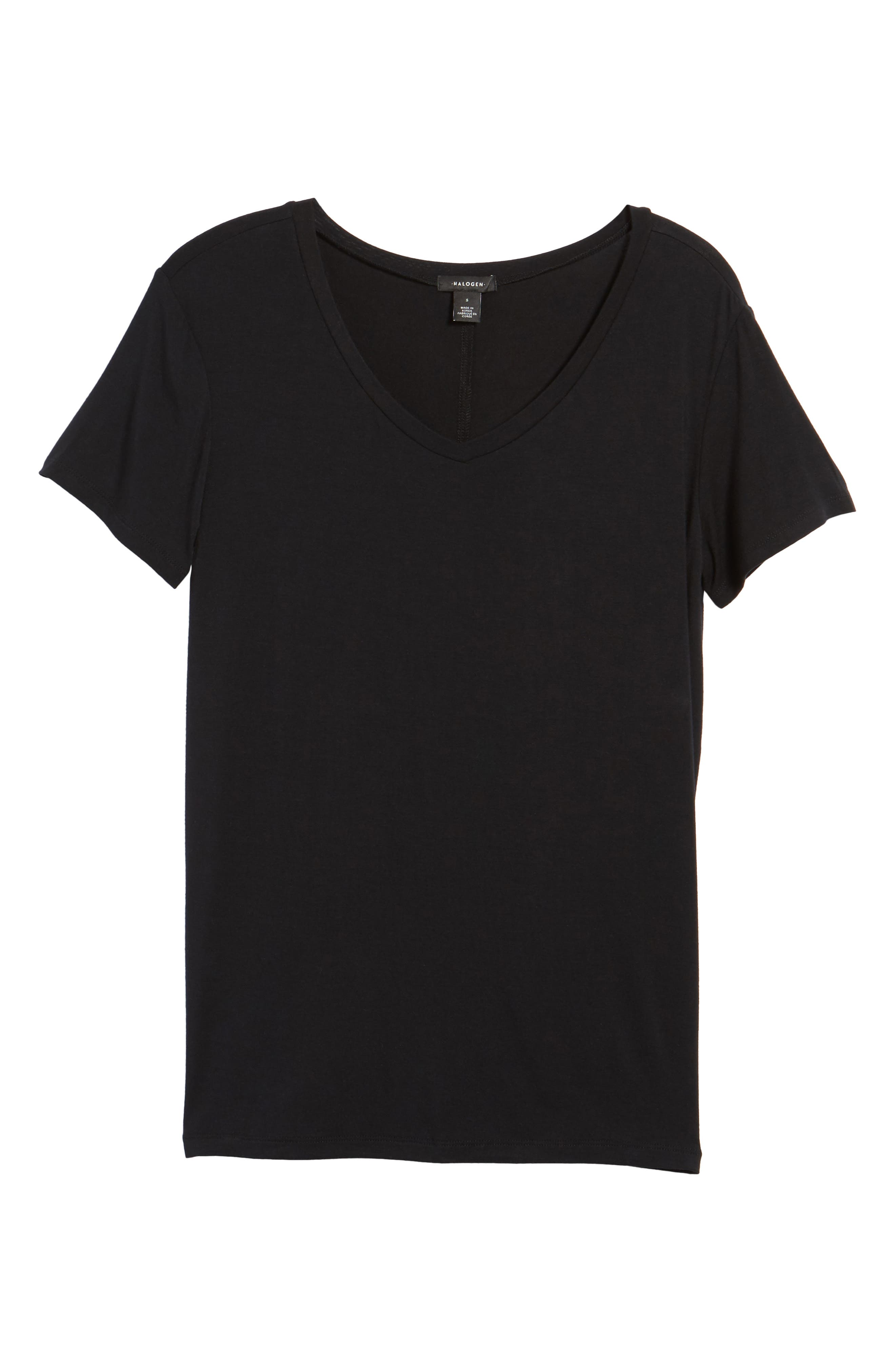 HALOGEN<SUP>®</SUP>, Modal Jersey V-Neck Tee, Main thumbnail 1, color, BLACK