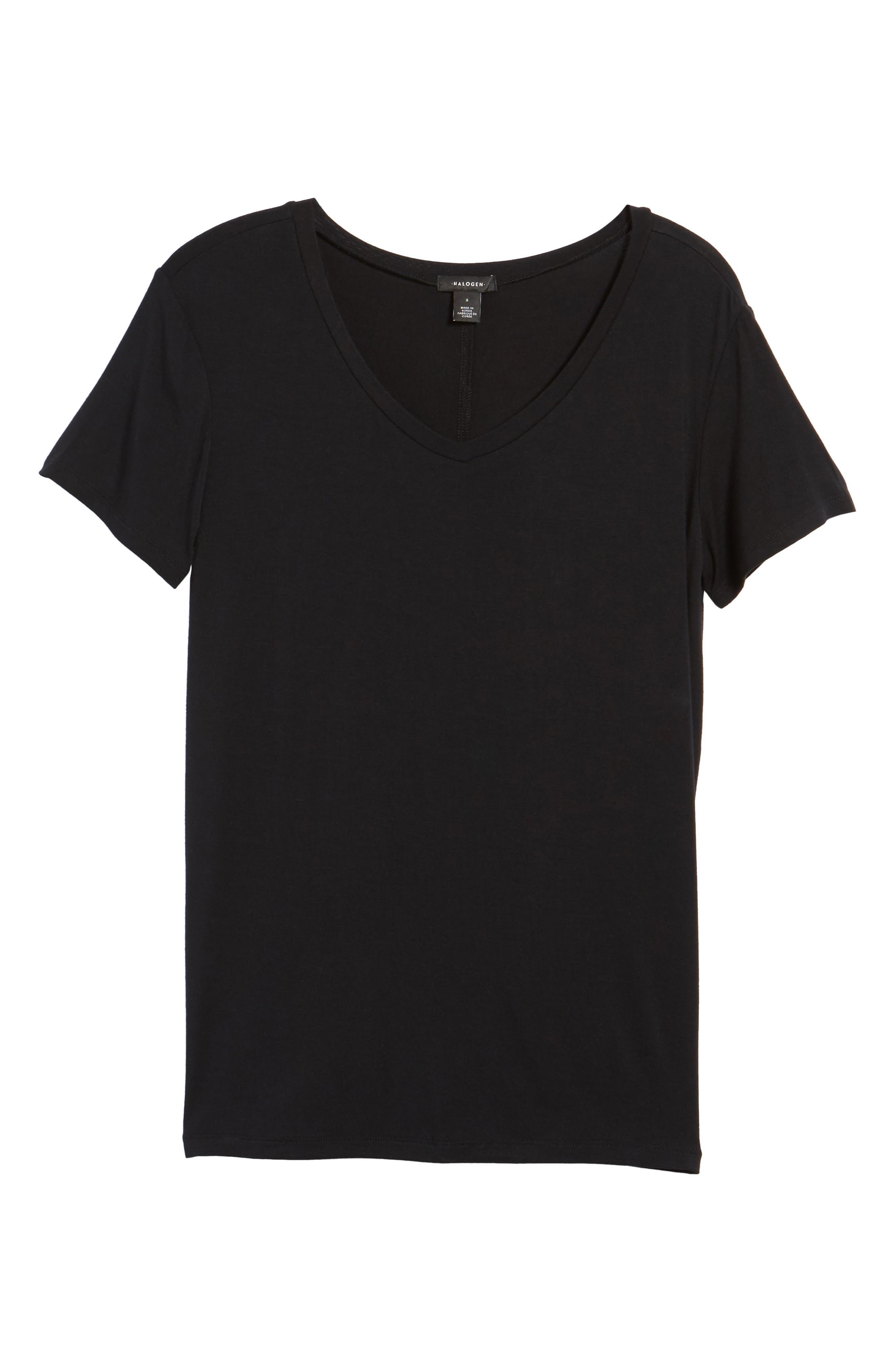 HALOGEN<SUP>®</SUP> Modal Jersey V-Neck Tee, Main, color, BLACK