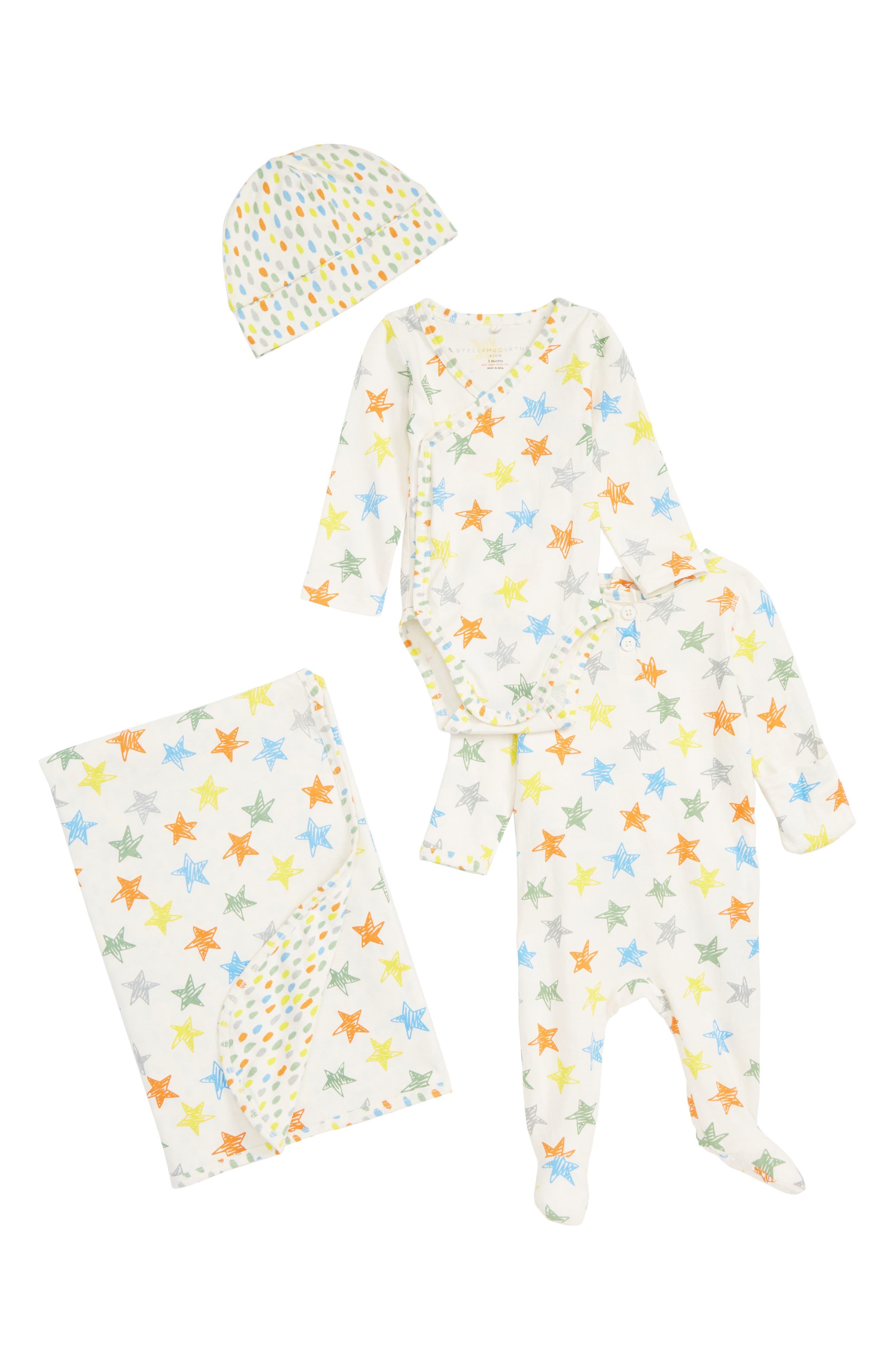 STELLA MCCARTNEY KIDS, Stella McCartney Organic Cotton Hat, Wrap Bodysuit, Romper & Blanket Set, Main thumbnail 1, color, MULTI