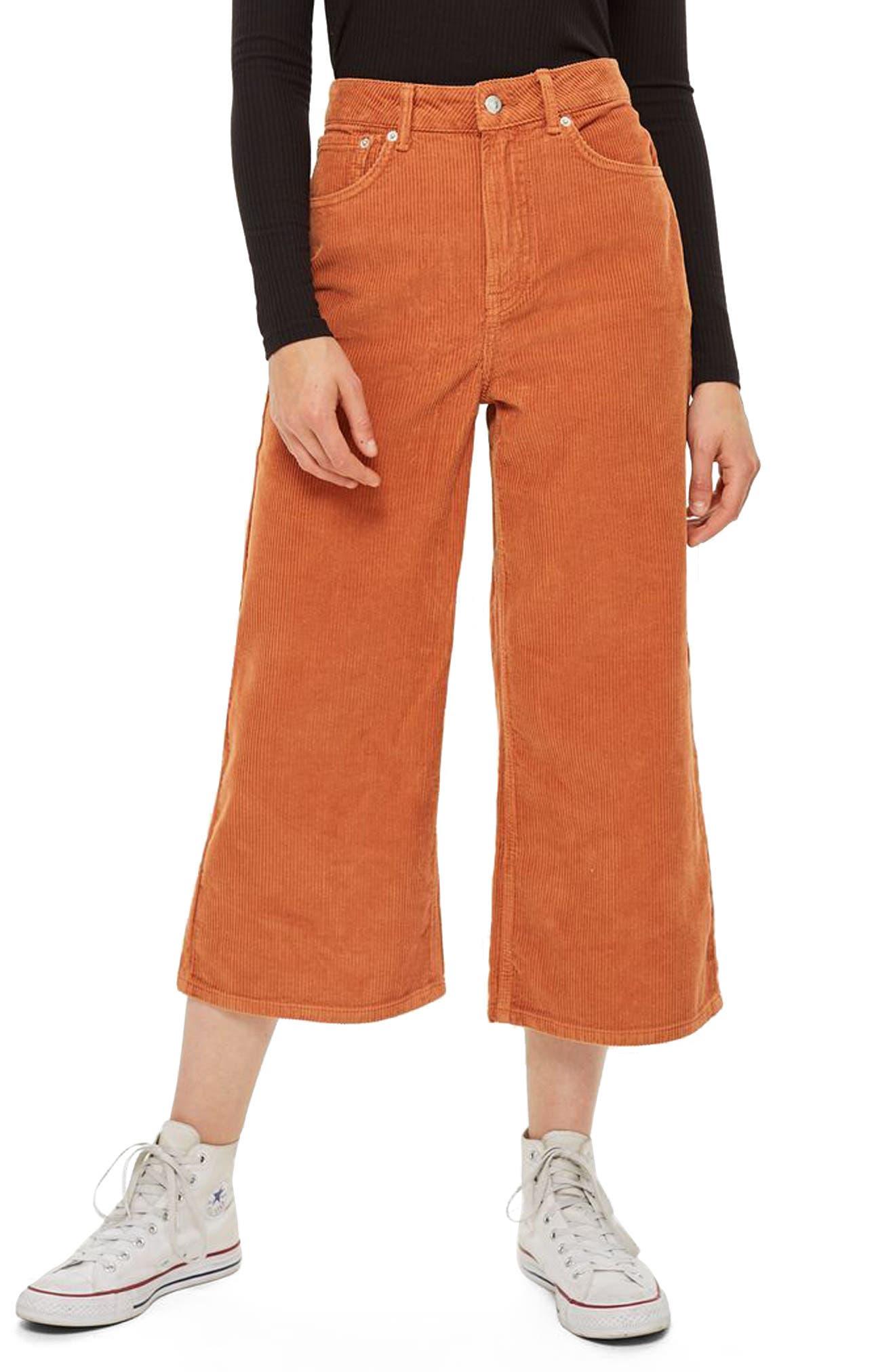 TOPSHOP Wide Leg Corduroy Trousers, Main, color, 210