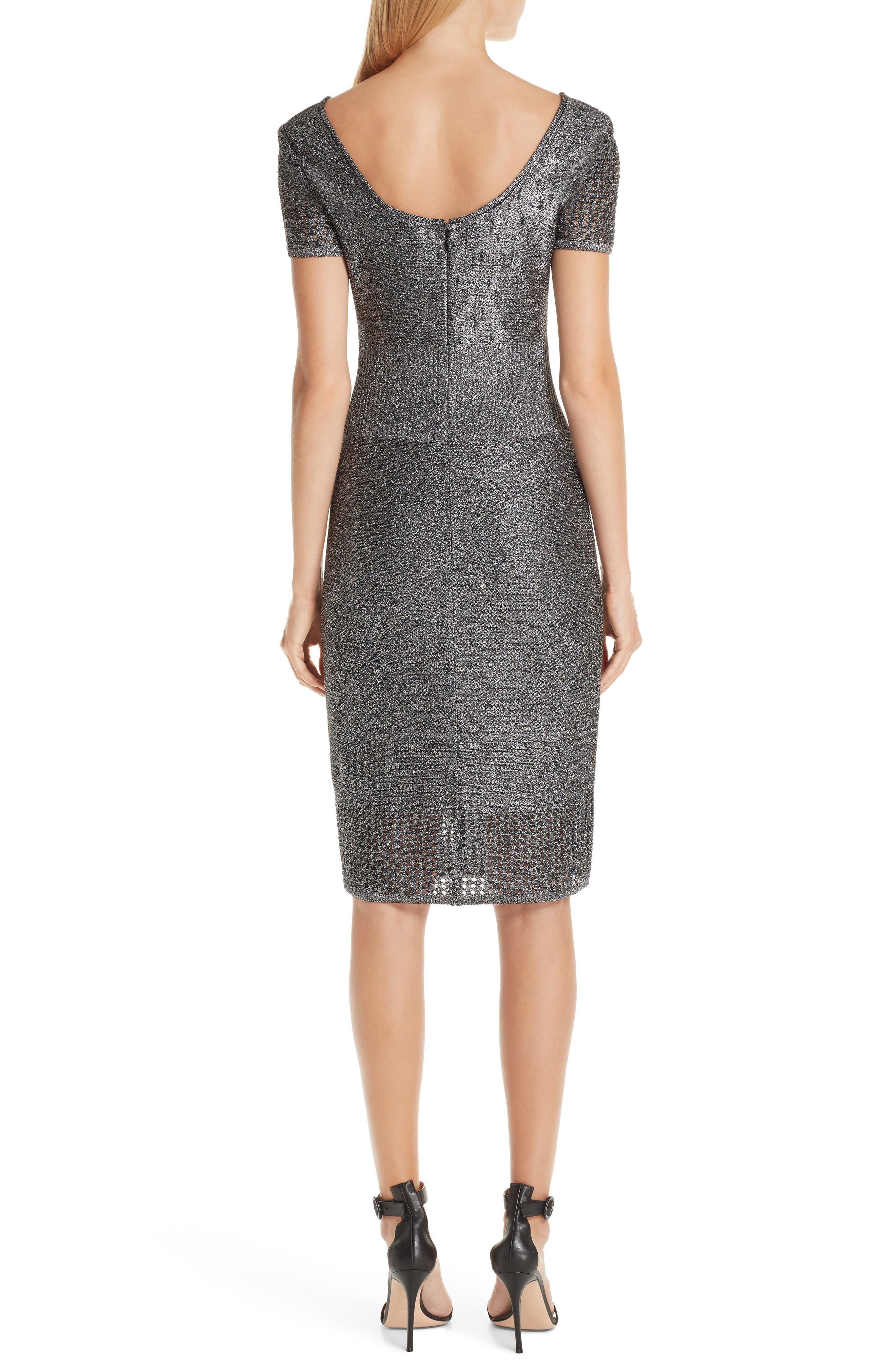 ST. JOHN COLLECTION, Metallic Plaited Mixed Knit Dress, Alternate thumbnail 2, color, GUNMETAL/ CAVIAR