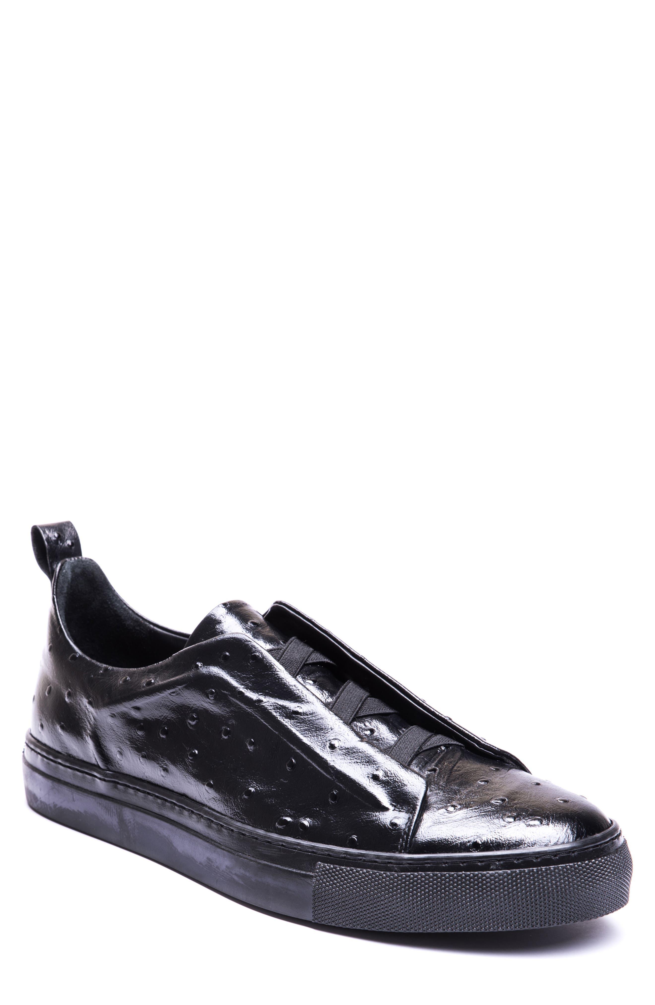 JARED LANG Santos Slip-On, Main, color, BLACK/ BLACK LEATHER