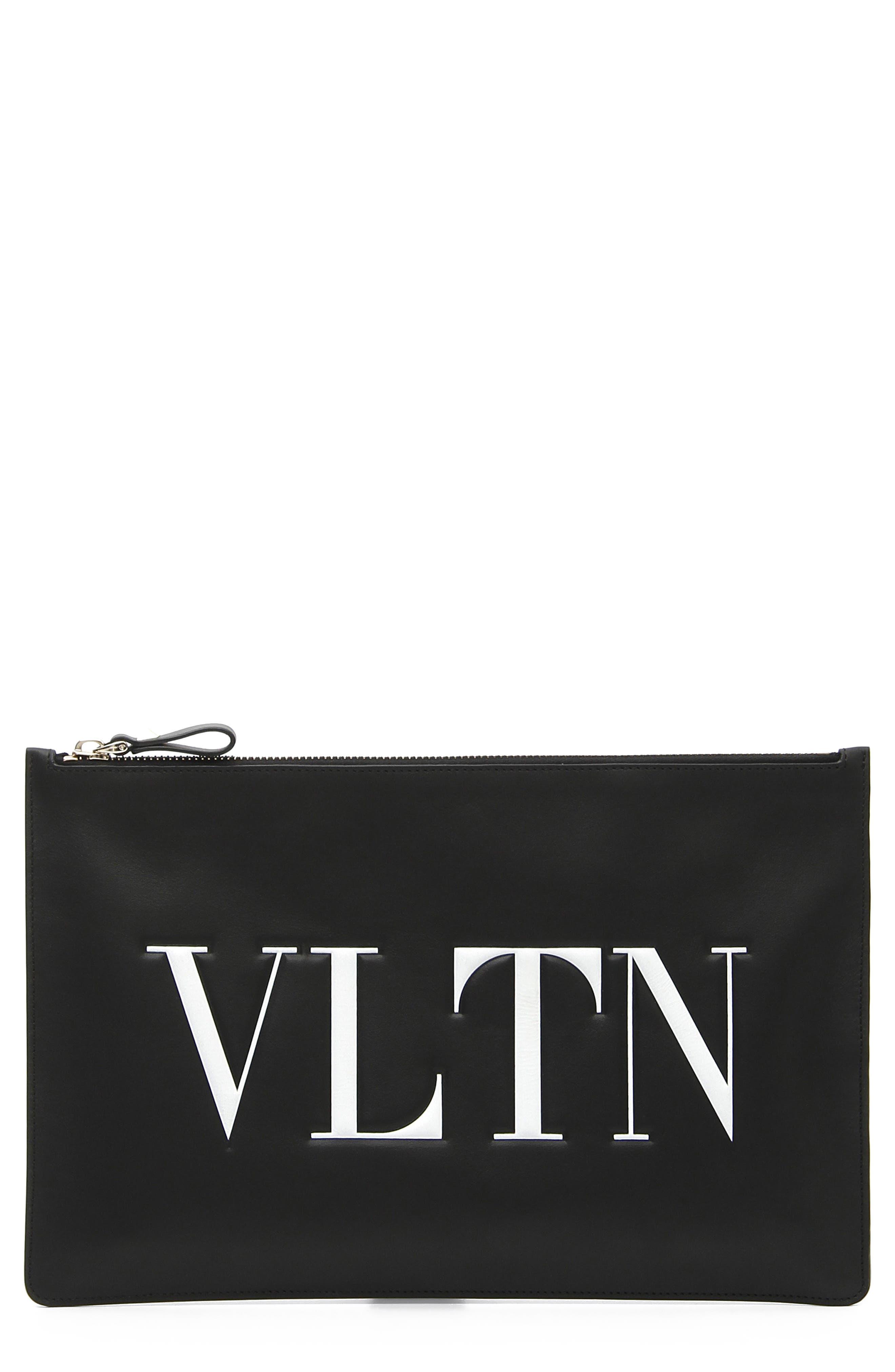 VALENTINO GARAVANI, Logo Graphic Flat Leather Pouch, Main thumbnail 1, color, NERO/ BIANCO