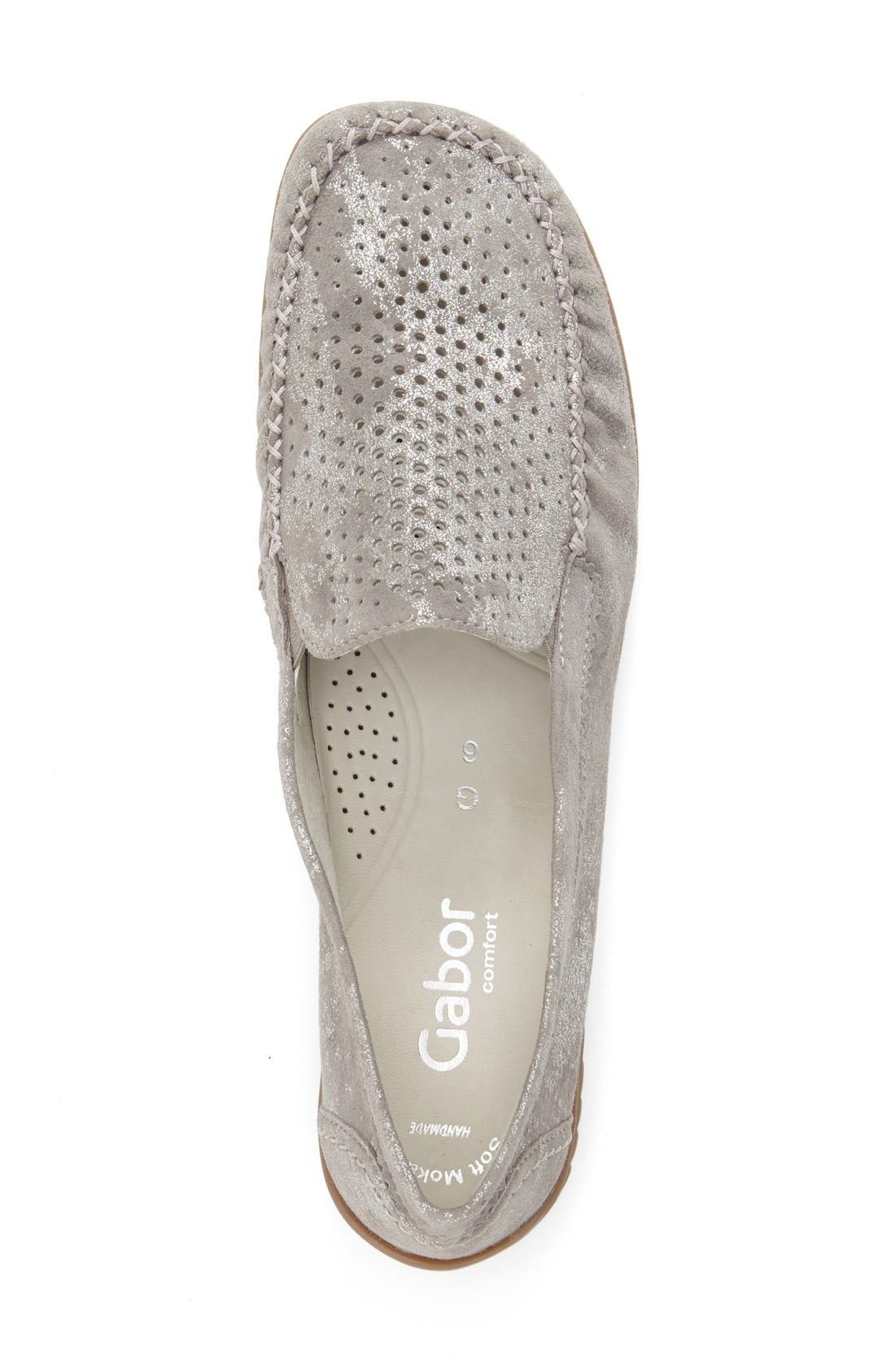 GABOR, Perforated Loafer, Alternate thumbnail 4, color, GREY CARUSO LEATHER