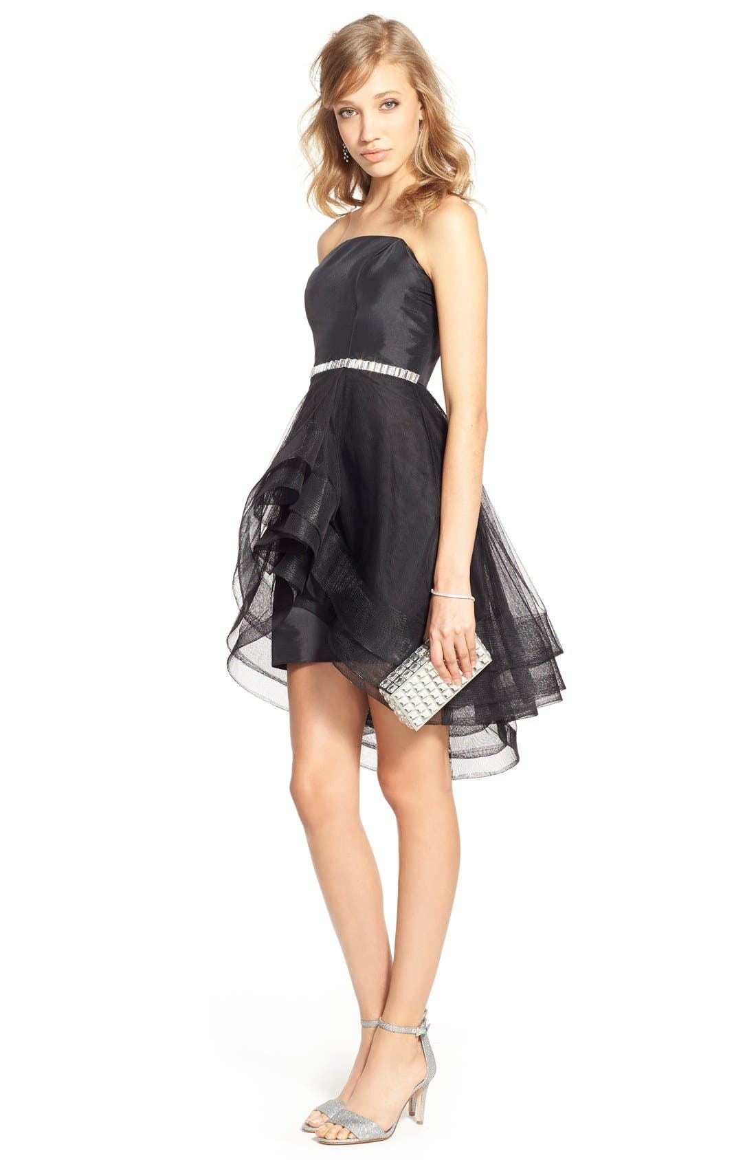 WAY-IN, 'Susie' Embellished Waist Tulle Strapless Dress, Alternate thumbnail 4, color, 001
