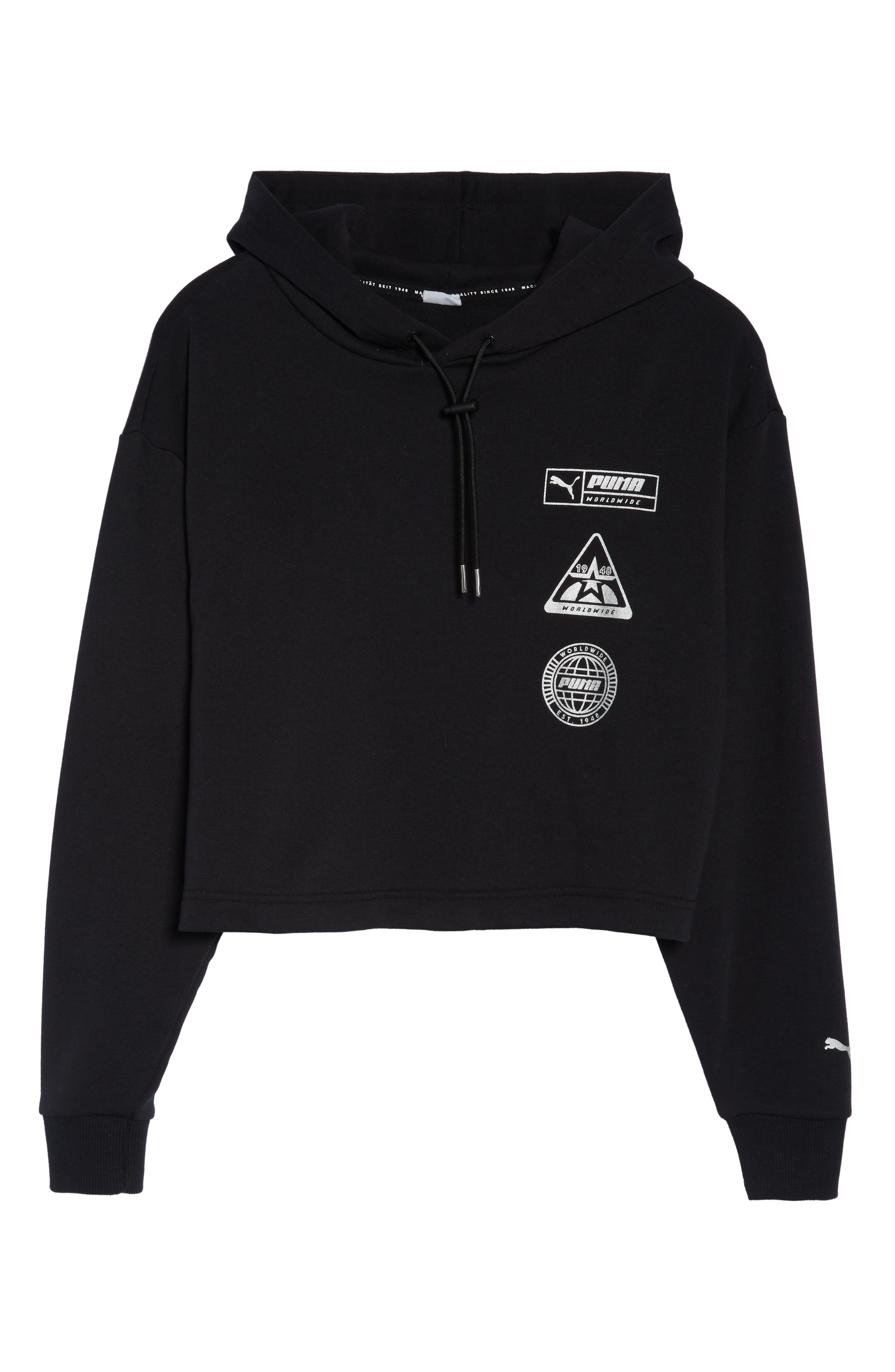 PUMA, TZ Cropped Hoodie, Alternate thumbnail 7, color, BLACK