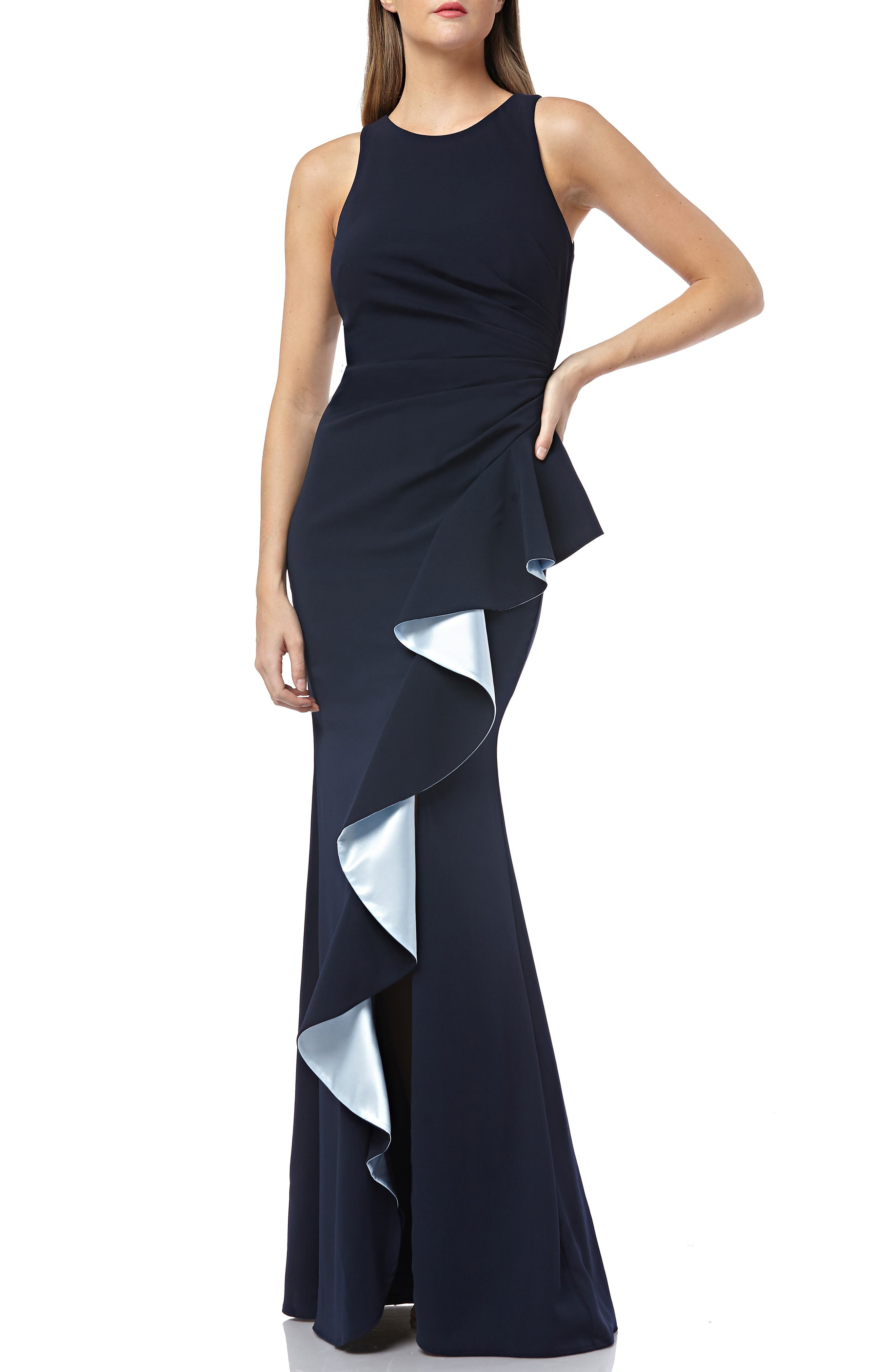 CARMEN MARC VALVO INFUSION, Carmen Marc Valvo Couture Infusion Ruffle Gown, Main thumbnail 1, color, NAVY/ ICE BLUE