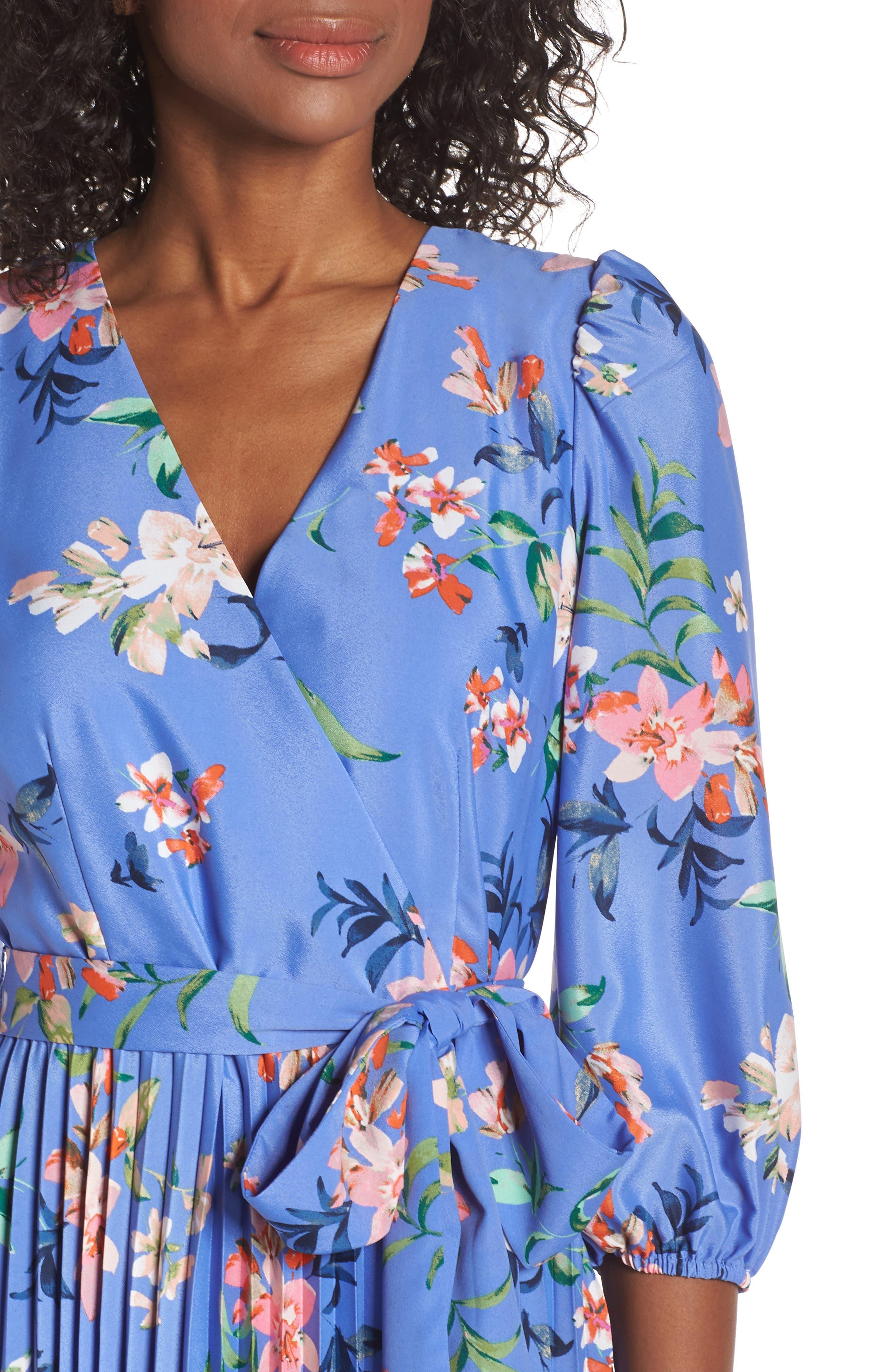 ELIZA J, Pleated Faux Wrap Dress, Alternate thumbnail 5, color, BLUE