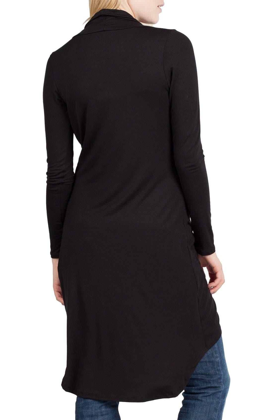 SAVI MOM, Nara Maternity/Nursing Cardigan, Alternate thumbnail 2, color, BLACK
