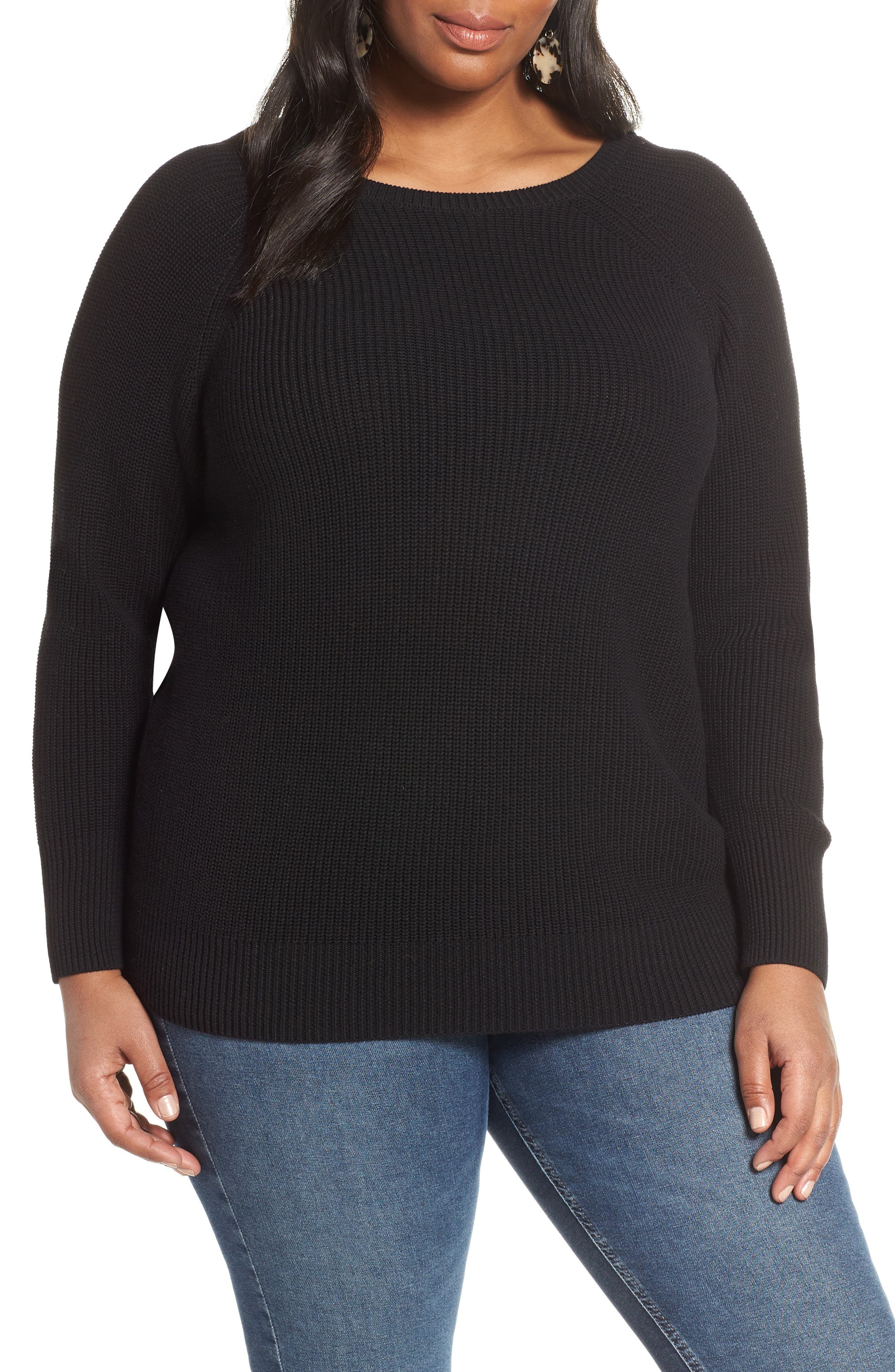 HALOGEN<SUP>®</SUP> Cross Back Sweater, Main, color, BLACK