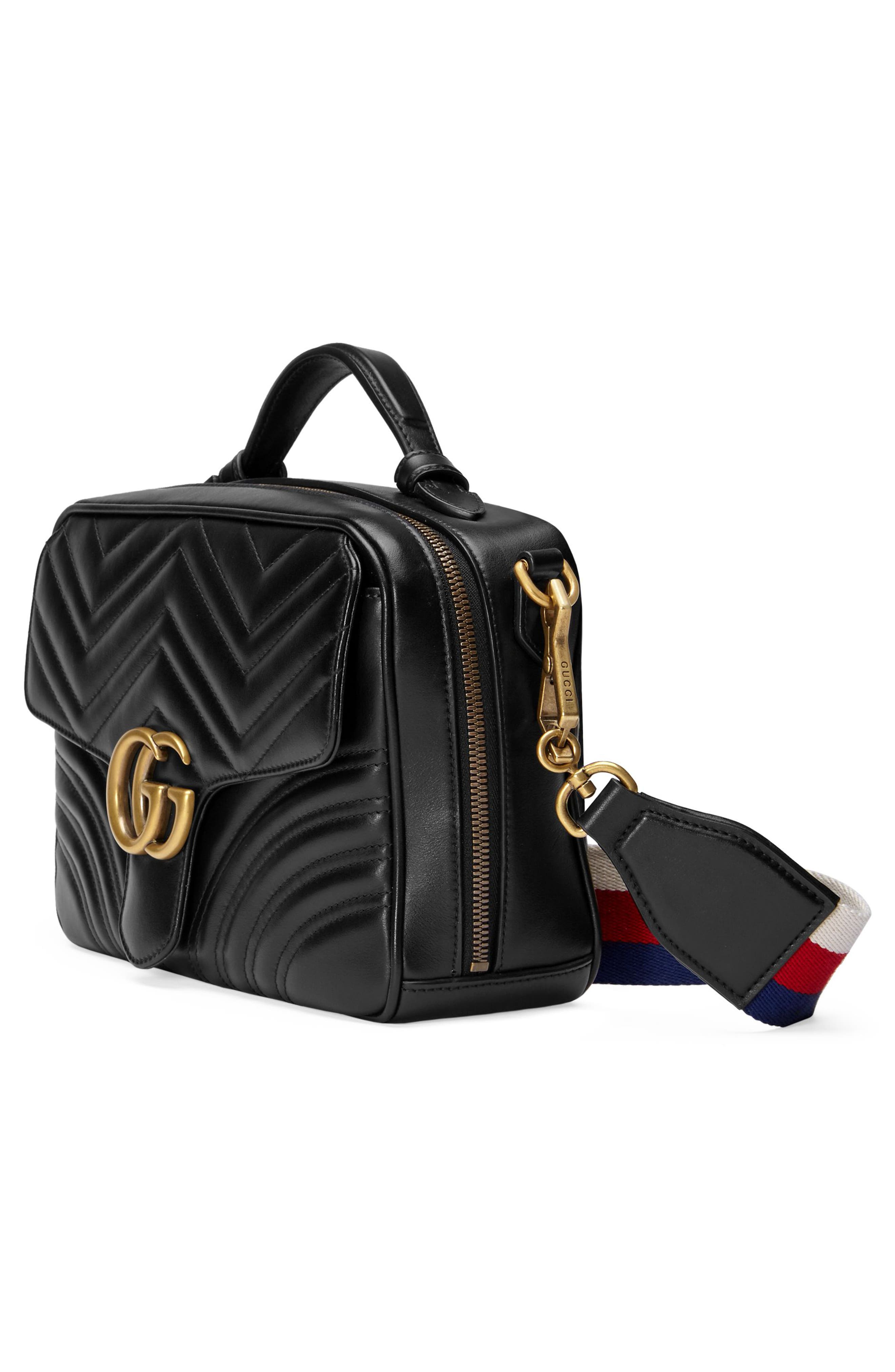 GUCCI, Small GG Marmont 2.0 Matelassé Leather Camera Bag with Webbed Strap, Alternate thumbnail 4, color, NERO/ WHITE/ HIBISCUS RED