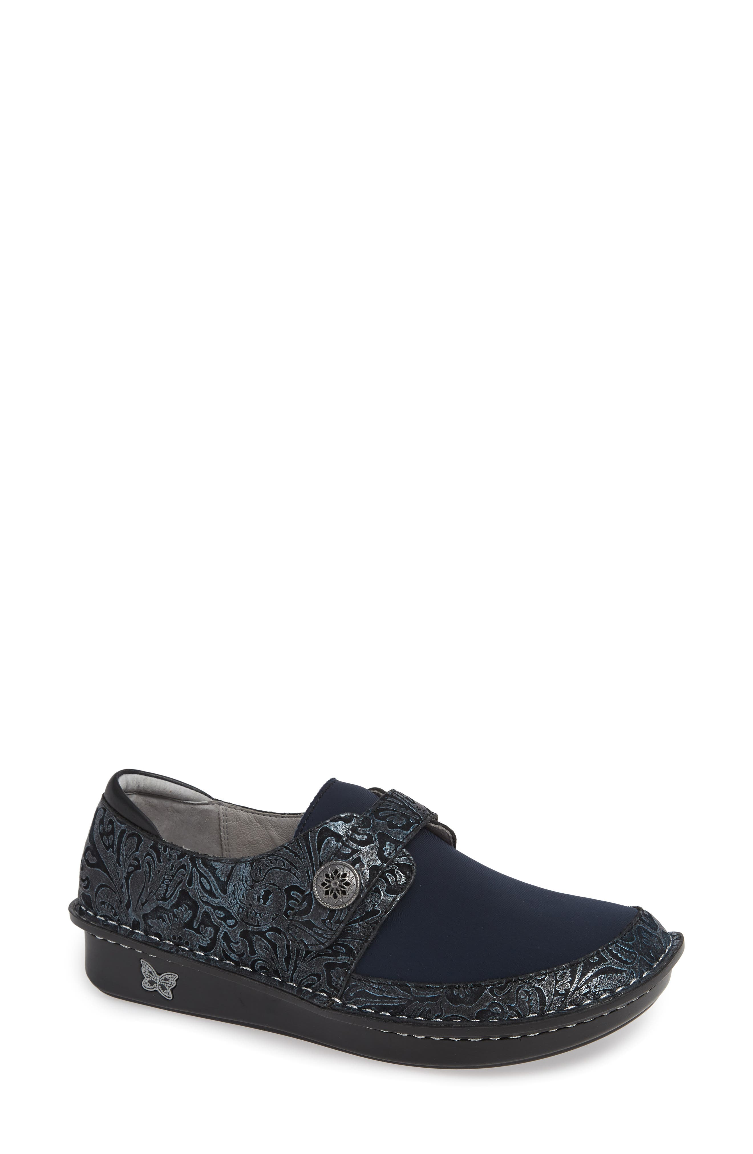 ALEGRIA Brenna Slip-On, Main, color, NAVY SWISH LEATHER