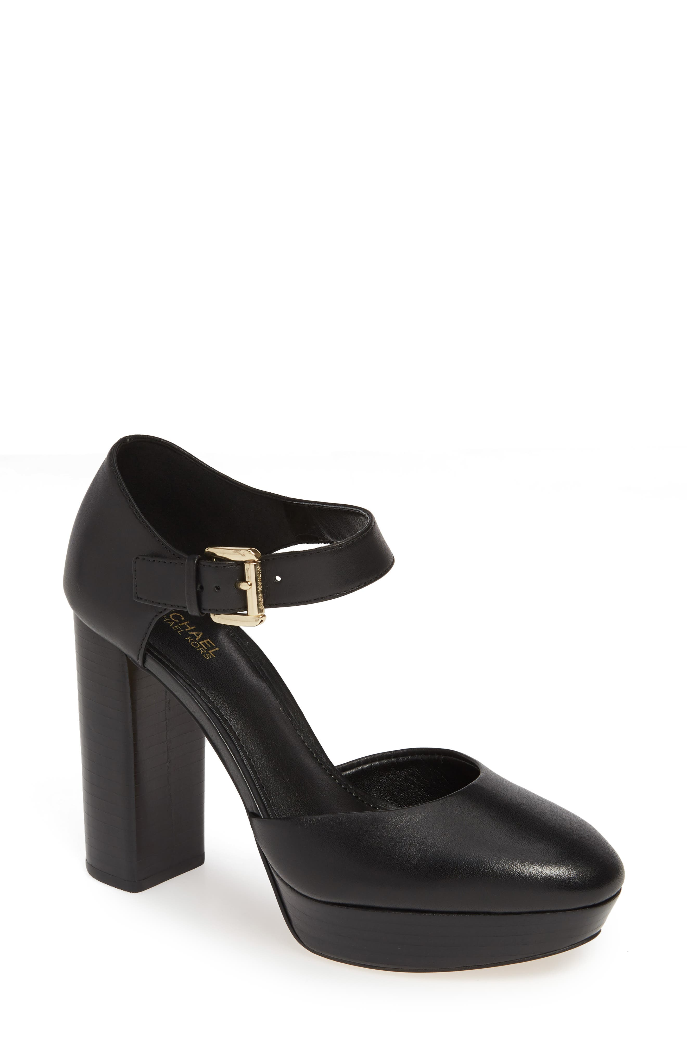 MICHAEL MICHAEL KORS, Platform Pump, Main thumbnail 1, color, BLACK VACHETTA LEATHER