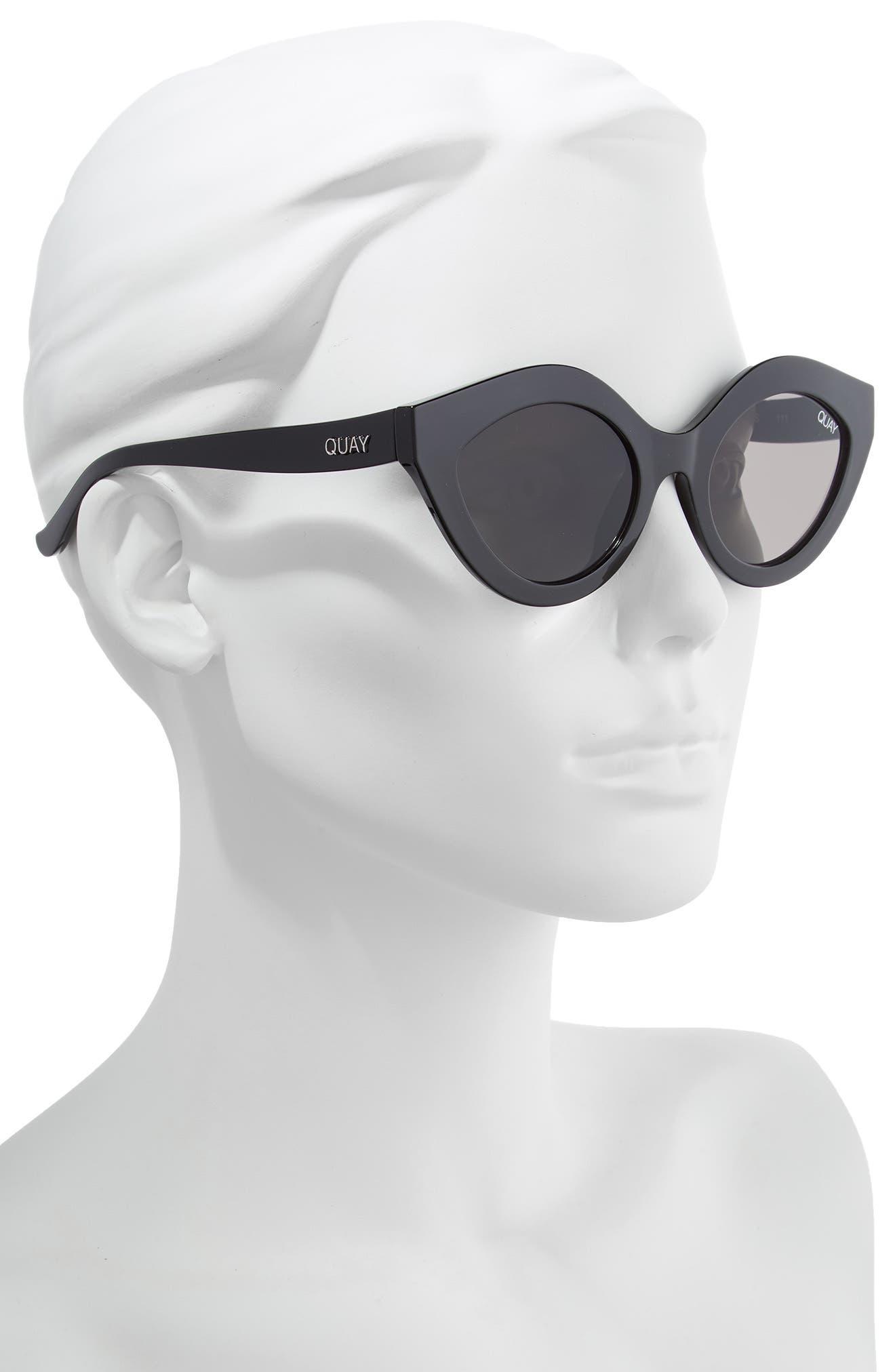QUAY AUSTRALIA, Goodnight Kiss Cat Eye Sunglasses, Alternate thumbnail 2, color, BLACK / SMOKE