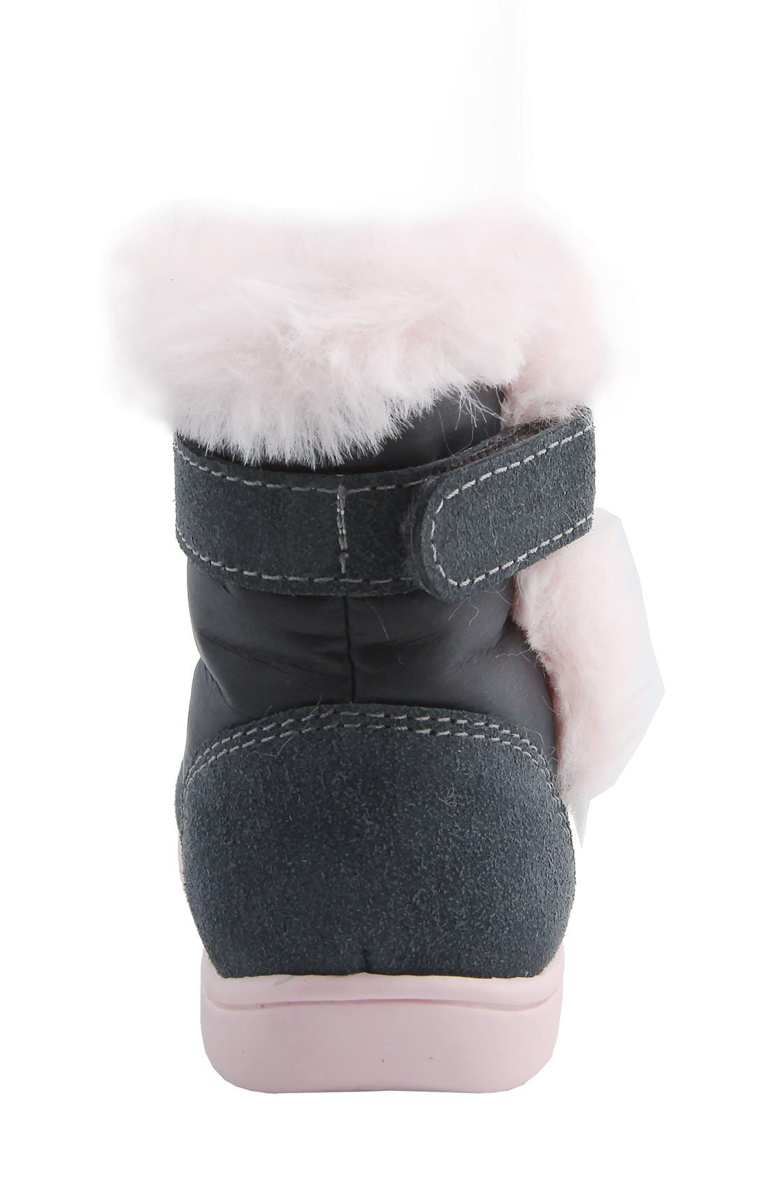 MOBILITY, Nina 'Anya' Faux Fur Bootie, Alternate thumbnail 6, color, GREY SUEDE
