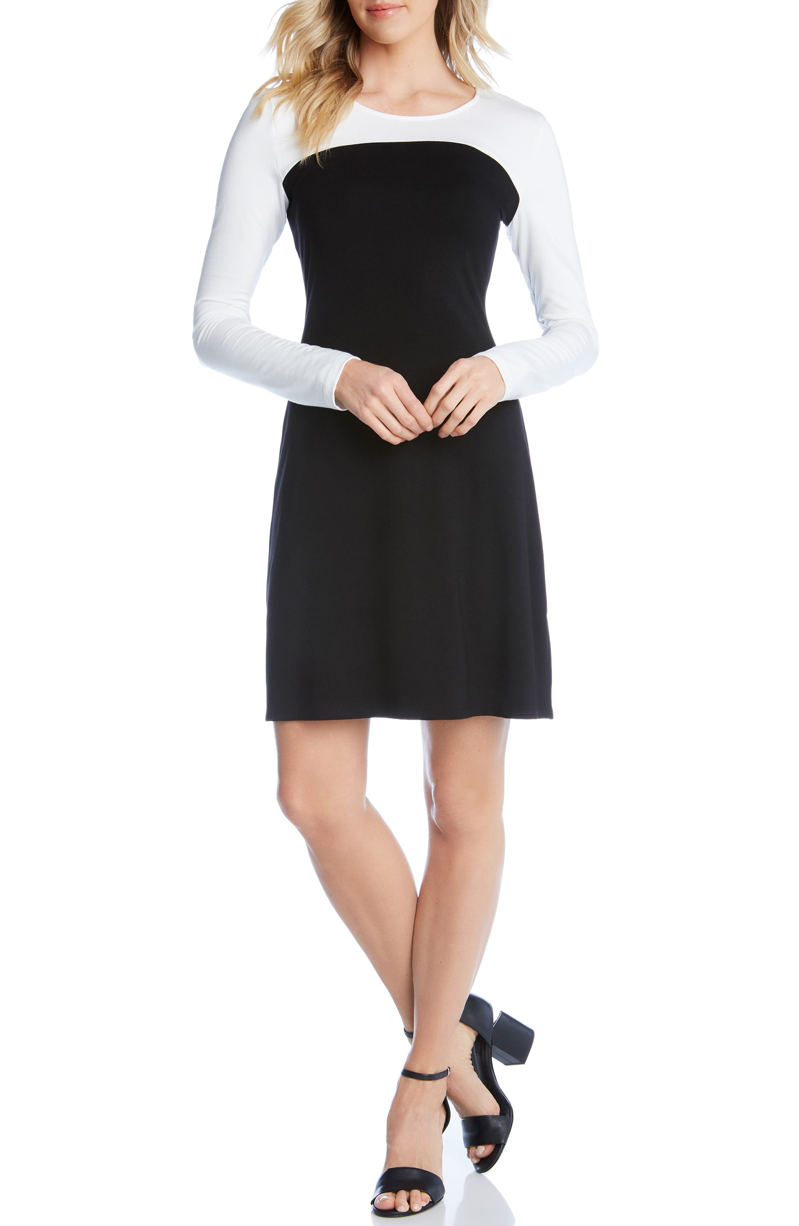 KAREN KANE, Colorblock Sheath Dress, Main thumbnail 1, color, BLACK WITH OFF WHITE