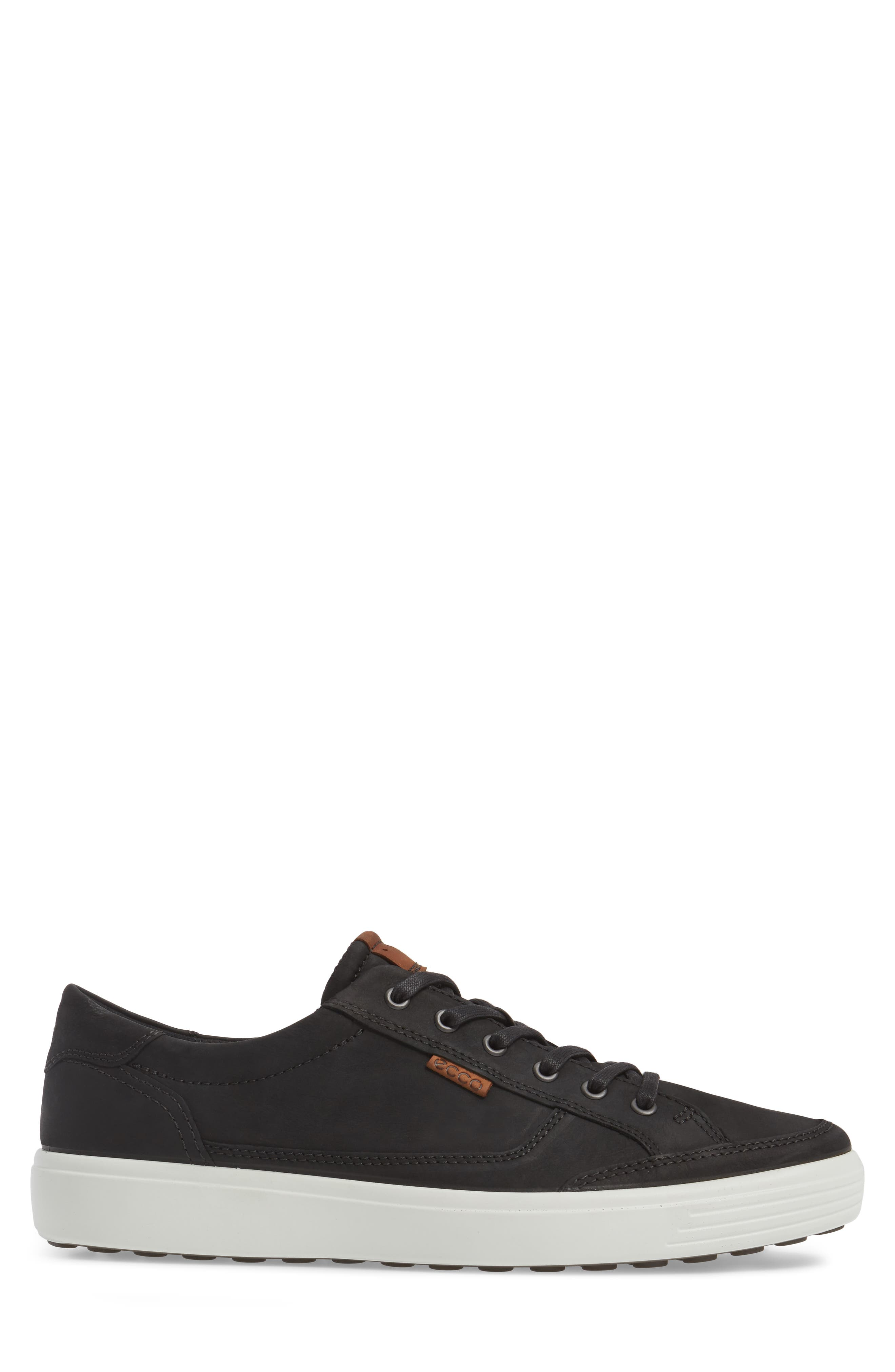 ECCO, Soft 7 Long Lace Sneaker, Alternate thumbnail 3, color, BLACK LEATHER