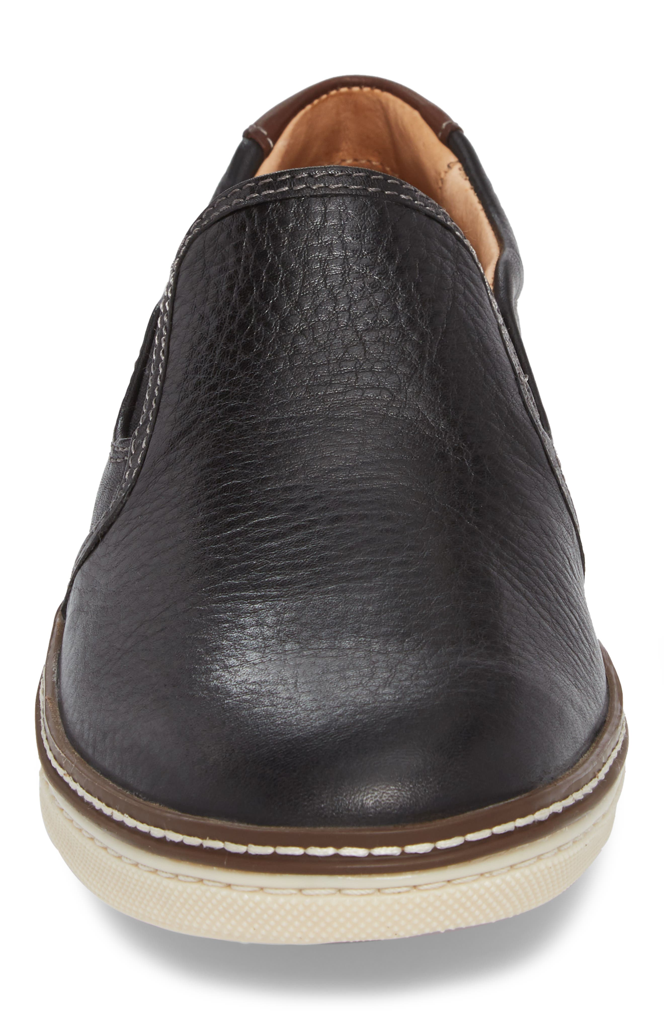 JOHNSTON & MURPHY, McGuffey Slip-On Sneaker, Alternate thumbnail 4, color, BLACK LEATHER