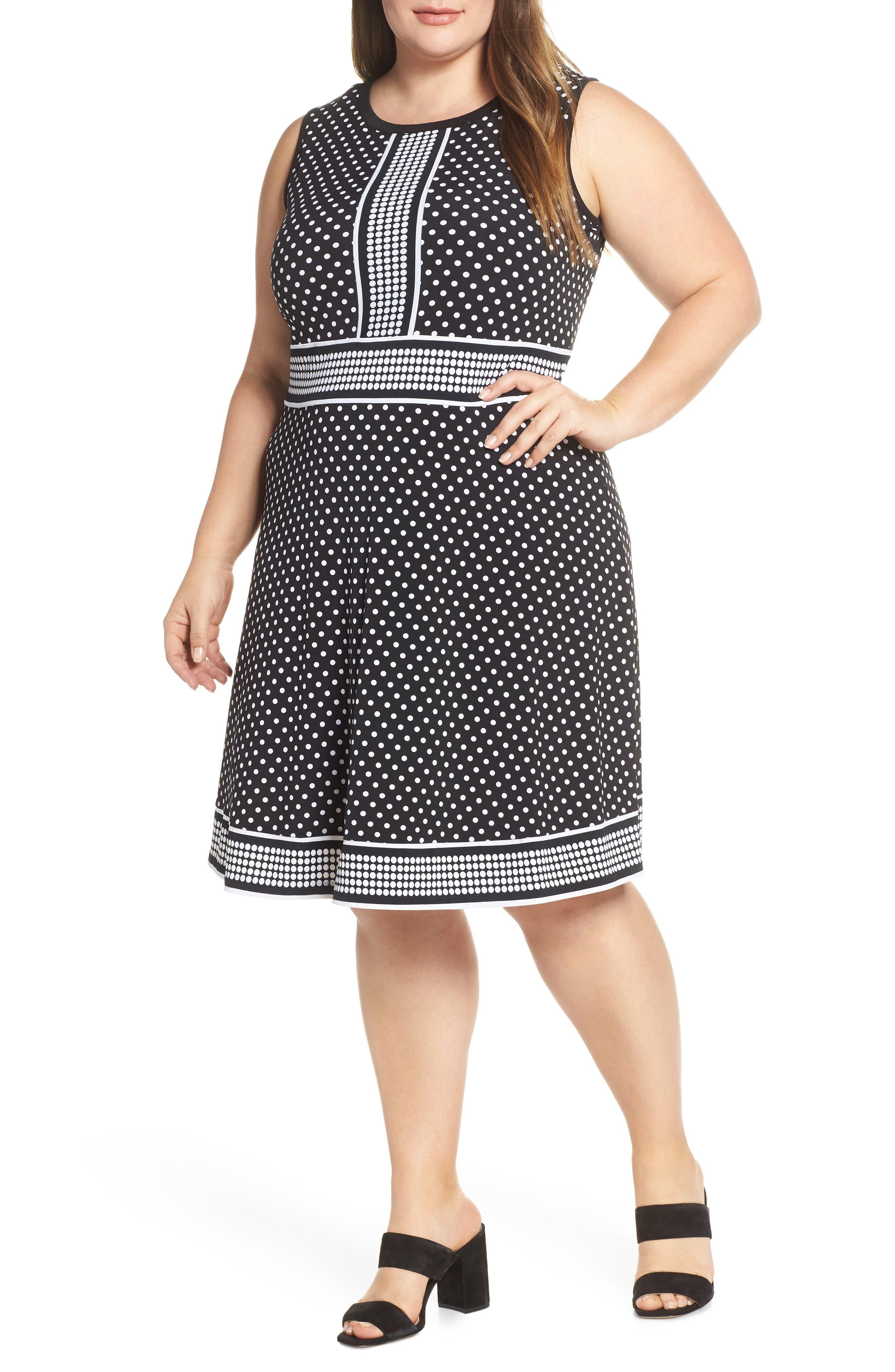 MICHAEL MICHAEL KORS Mixed Polka Dot Dress, Main, color, BLACK/ WHITE