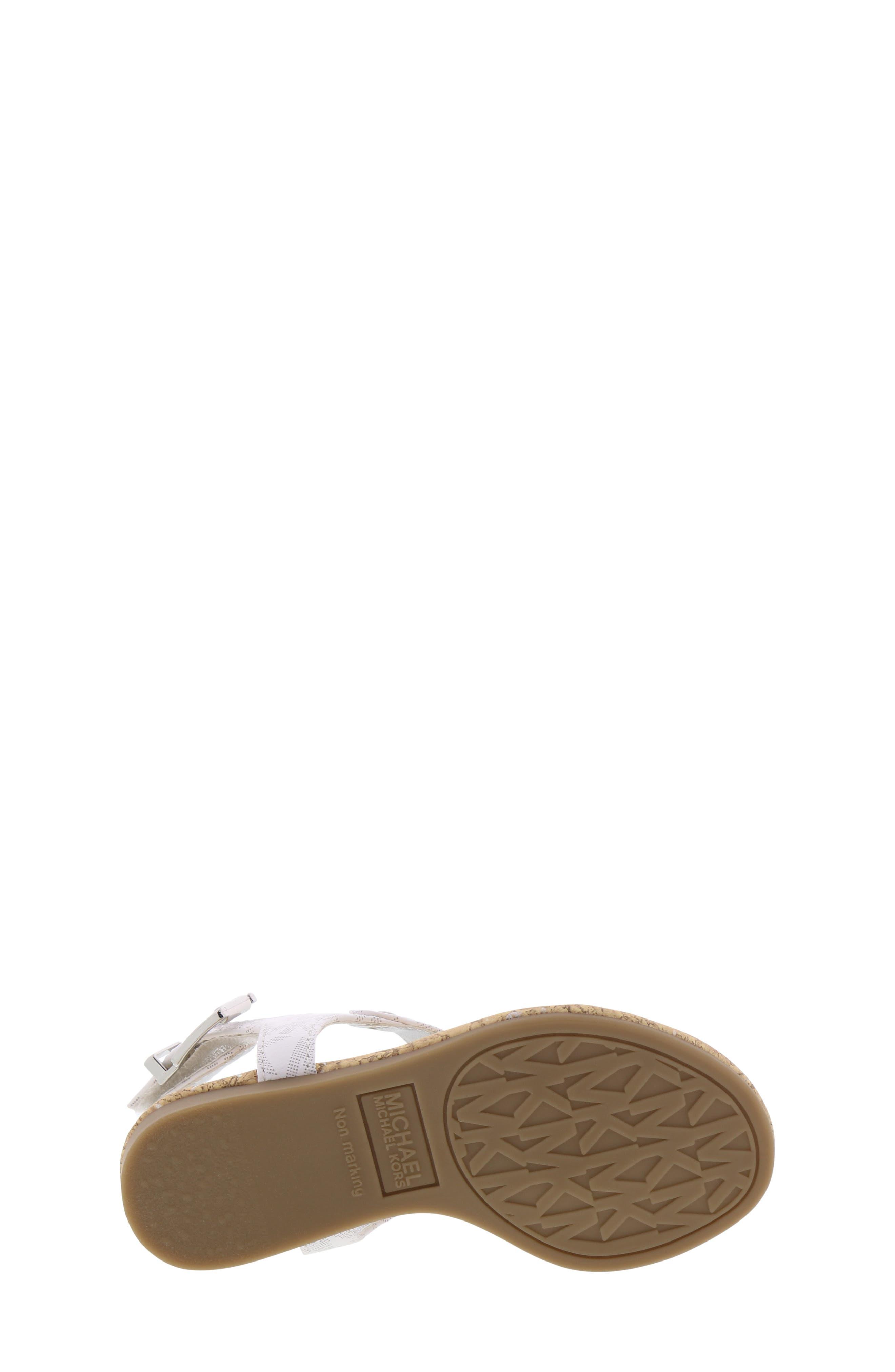 MICHAEL MICHAEL KORS, Tilly Cora Charm T-Strap Sandal, Alternate thumbnail 6, color, WHITE LOGO
