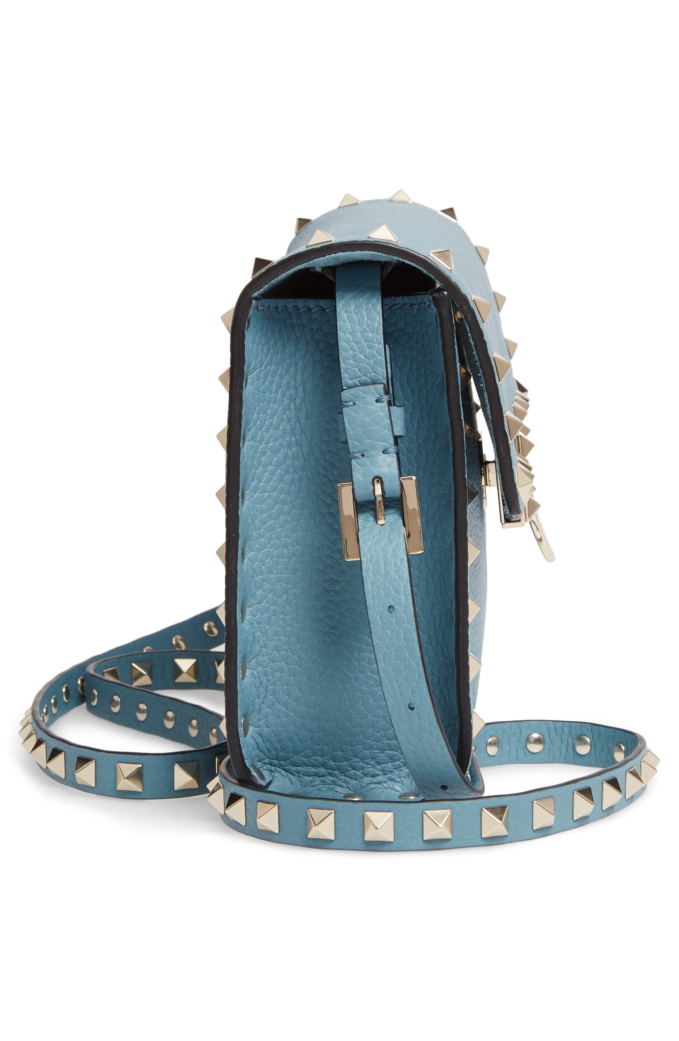 VALENTINO GARAVANI, Medium Rockstud Leather Crossbody Bag, Alternate thumbnail 5, color, 485