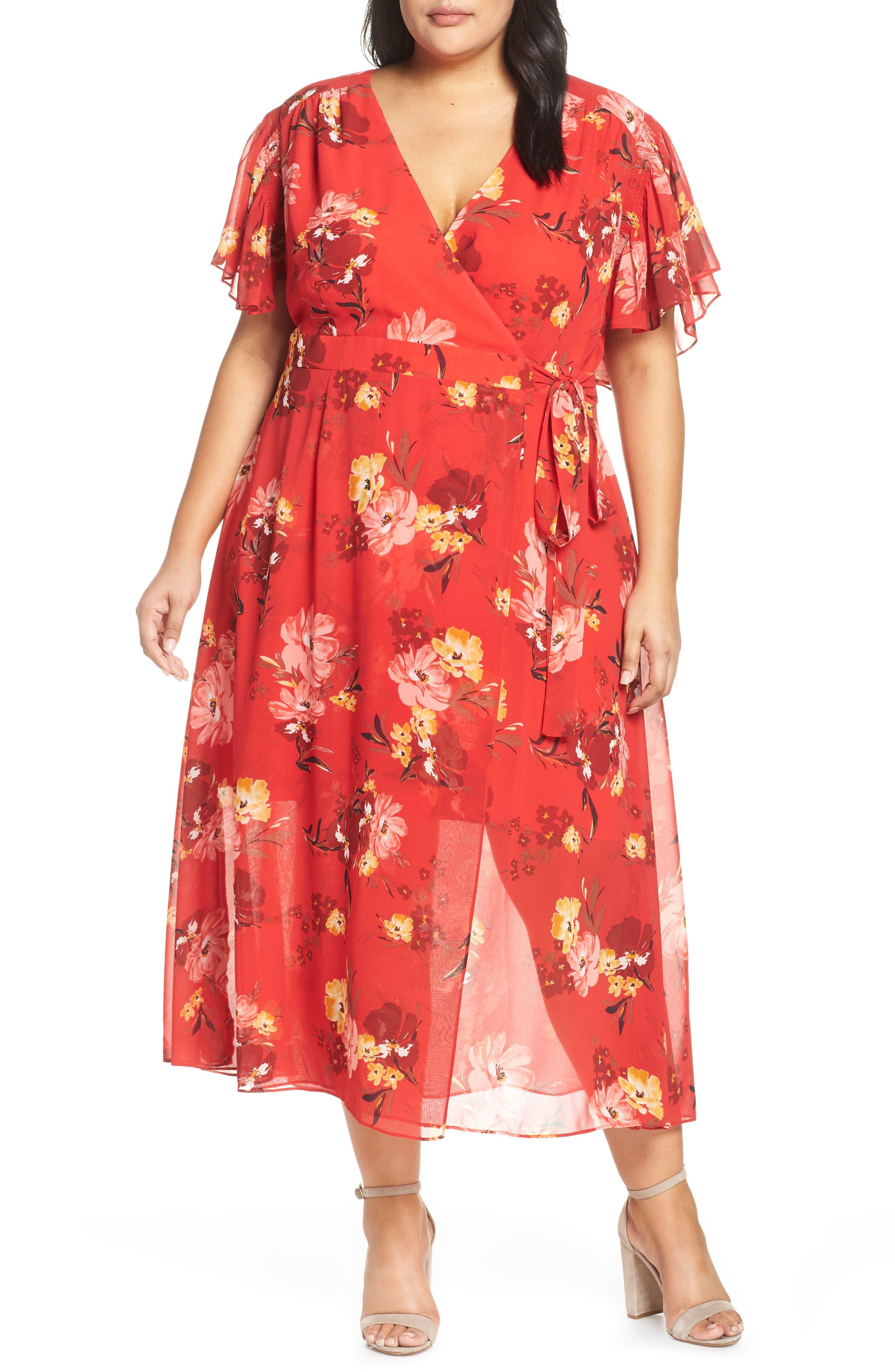 Plus Size Vince Camuto Smocking & Ruffles Chiffon Maxi Dress, Red