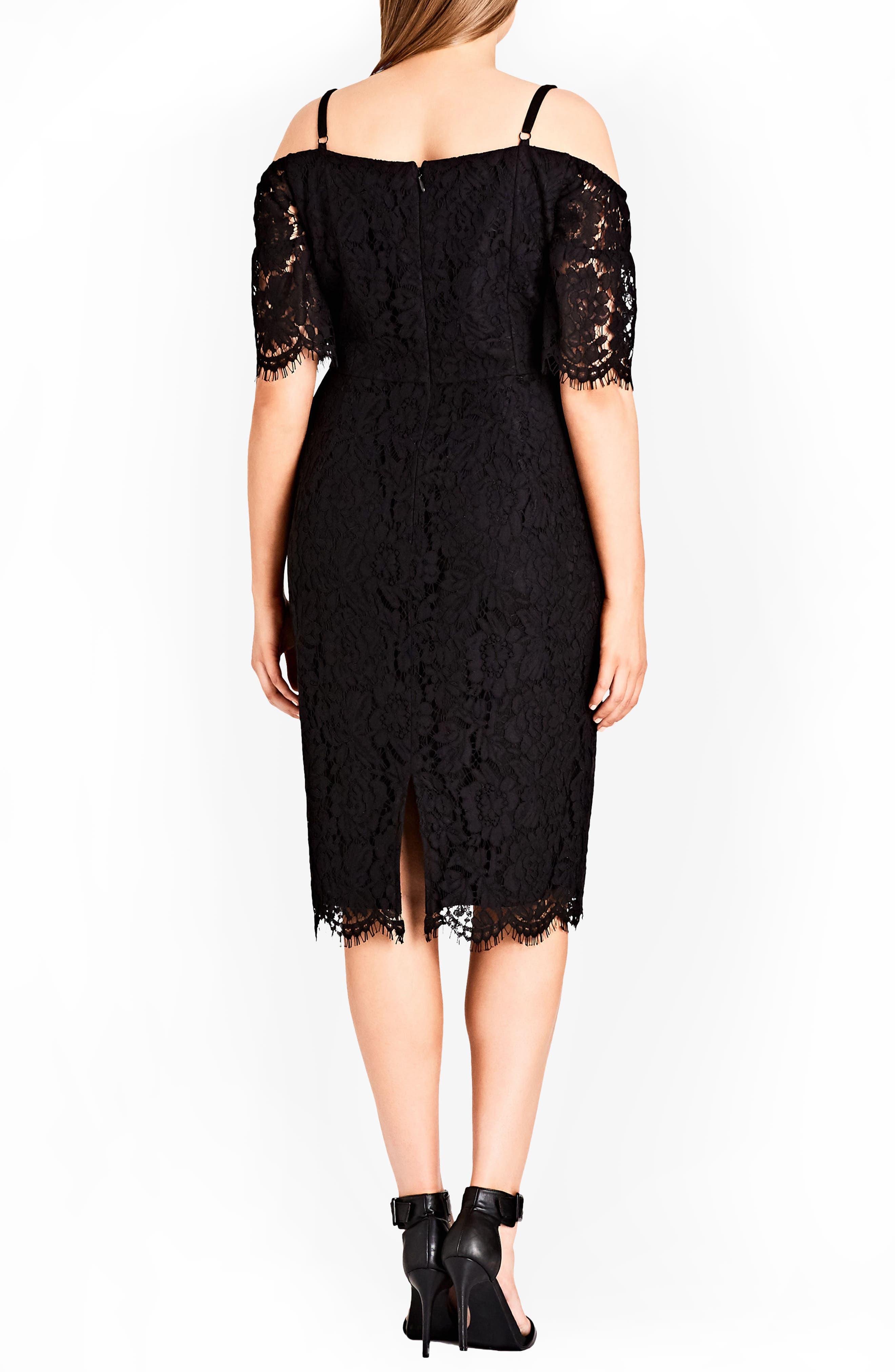 CITY CHIC, Lace Whisper Dress, Alternate thumbnail 2, color, BLACK