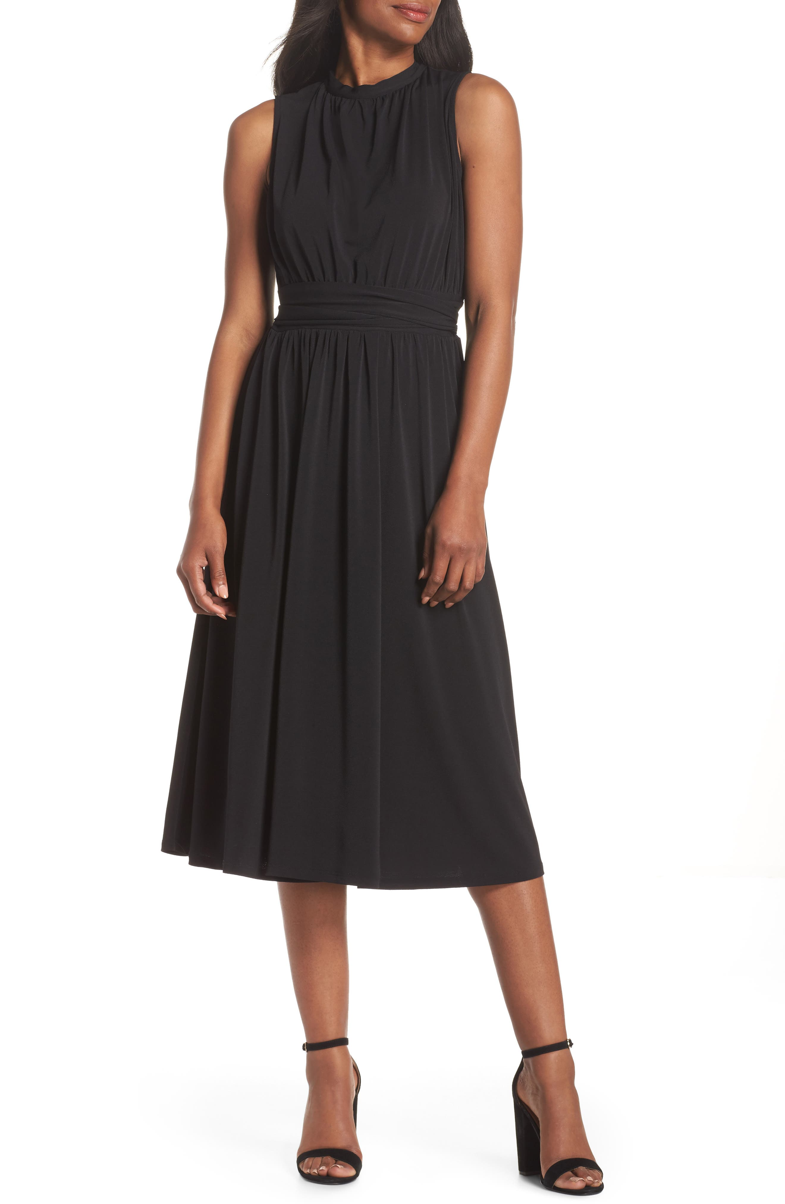 Leota Mindy Shirred Midi Dress, Black