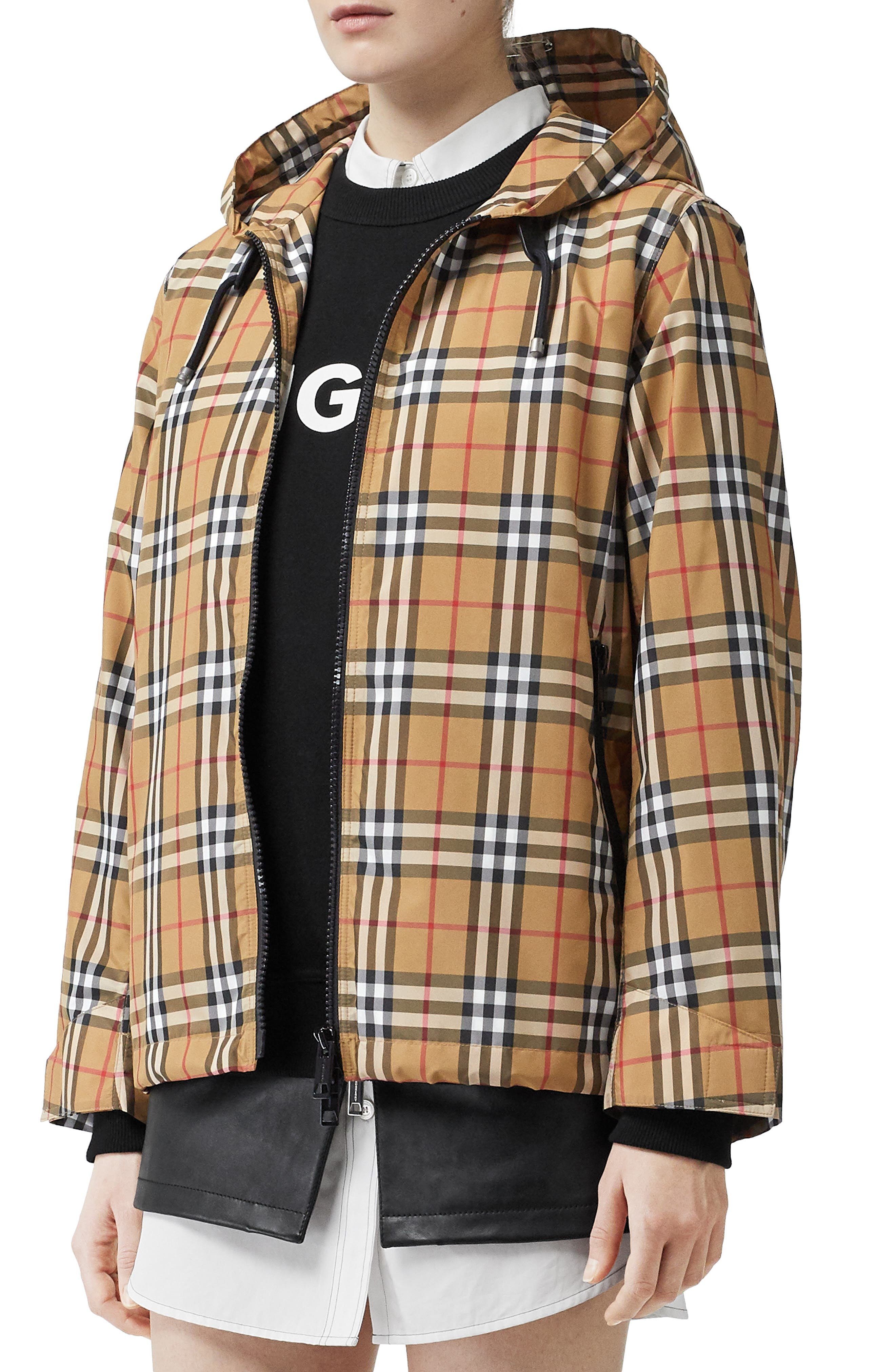 BURBERRY Winchester Vintage Check Hooded Rain Jacket, Main, color, ANTIQUE YEL IP CHK