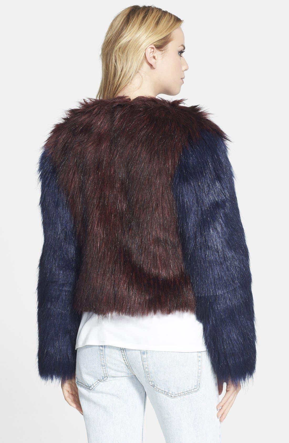 GLAMOROUS, Two Tone Faux Fur Jacket, Alternate thumbnail 2, color, 930