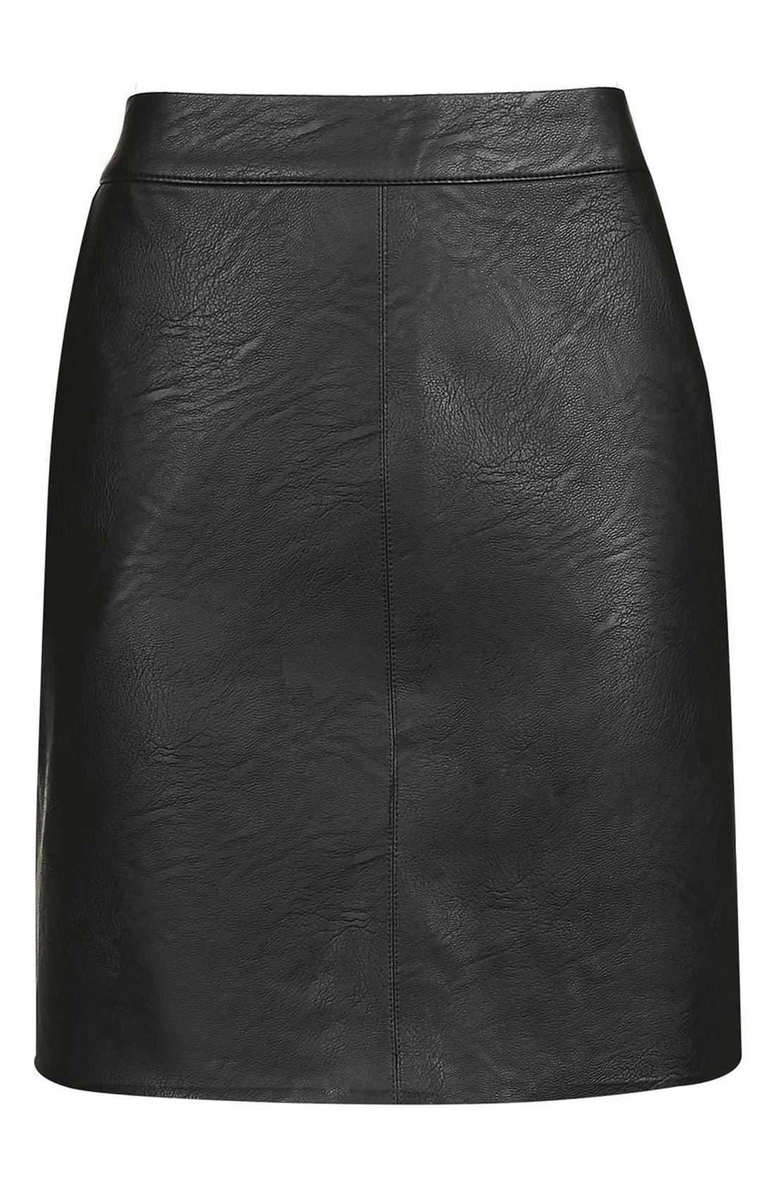 TOPSHOP, Faux Leather Pencil Skirt, Alternate thumbnail 4, color, 001