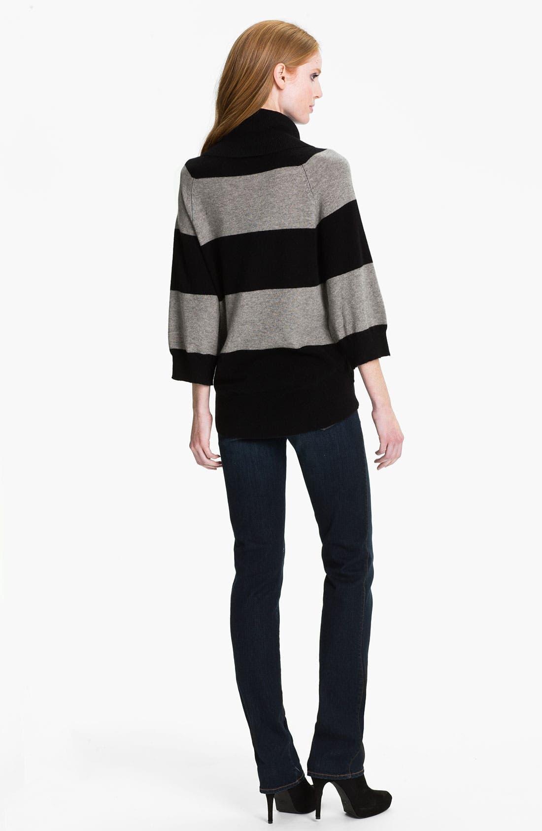 PURE AMICI, Stripe Cashmere Tunic, Alternate thumbnail 3, color, 001