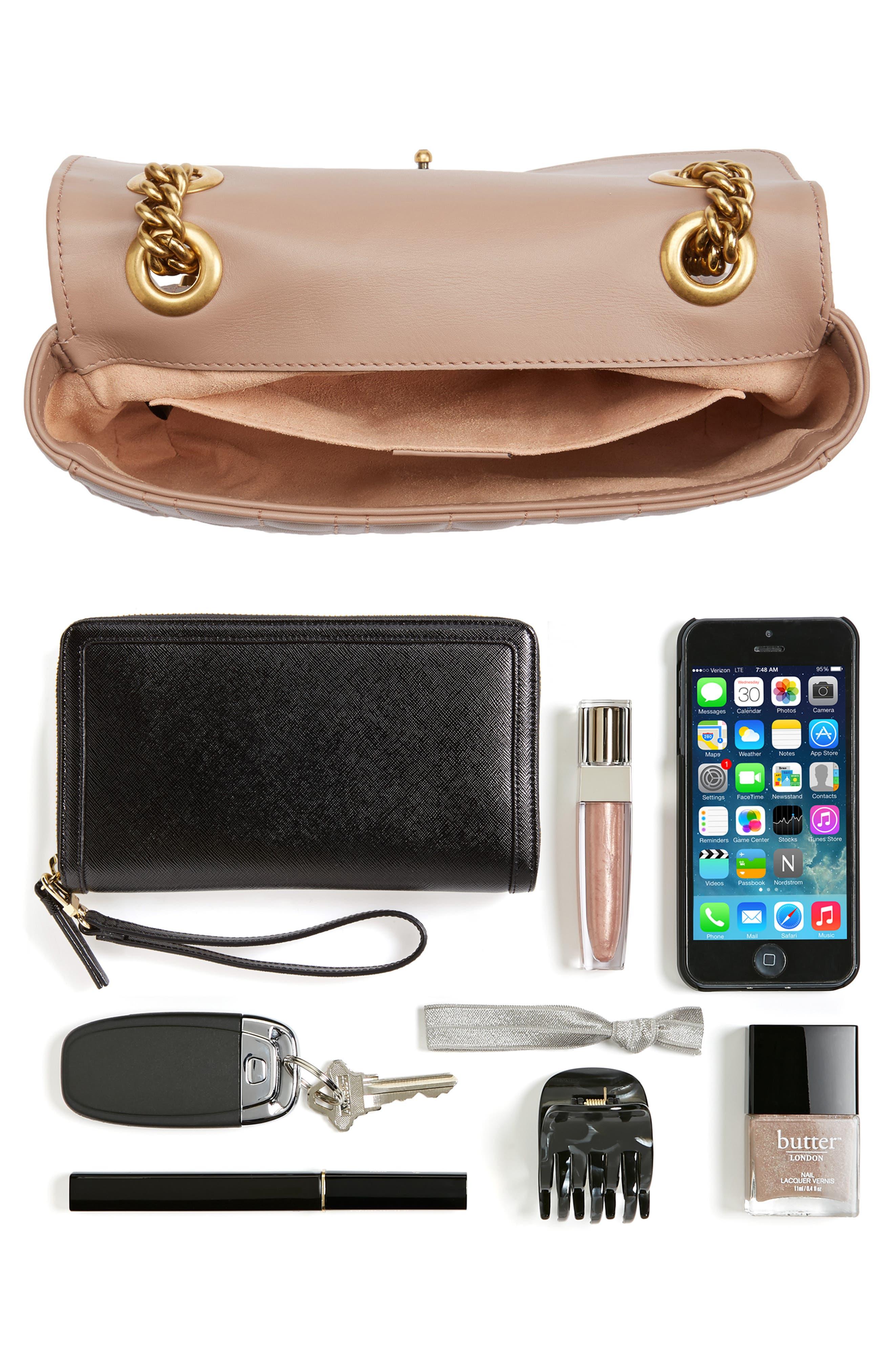 GUCCI, Mini GG Marmont 2.0 Imitation Pearl Logo Matelassé Leather Shoulder Bag, Alternate thumbnail 7, color, 651