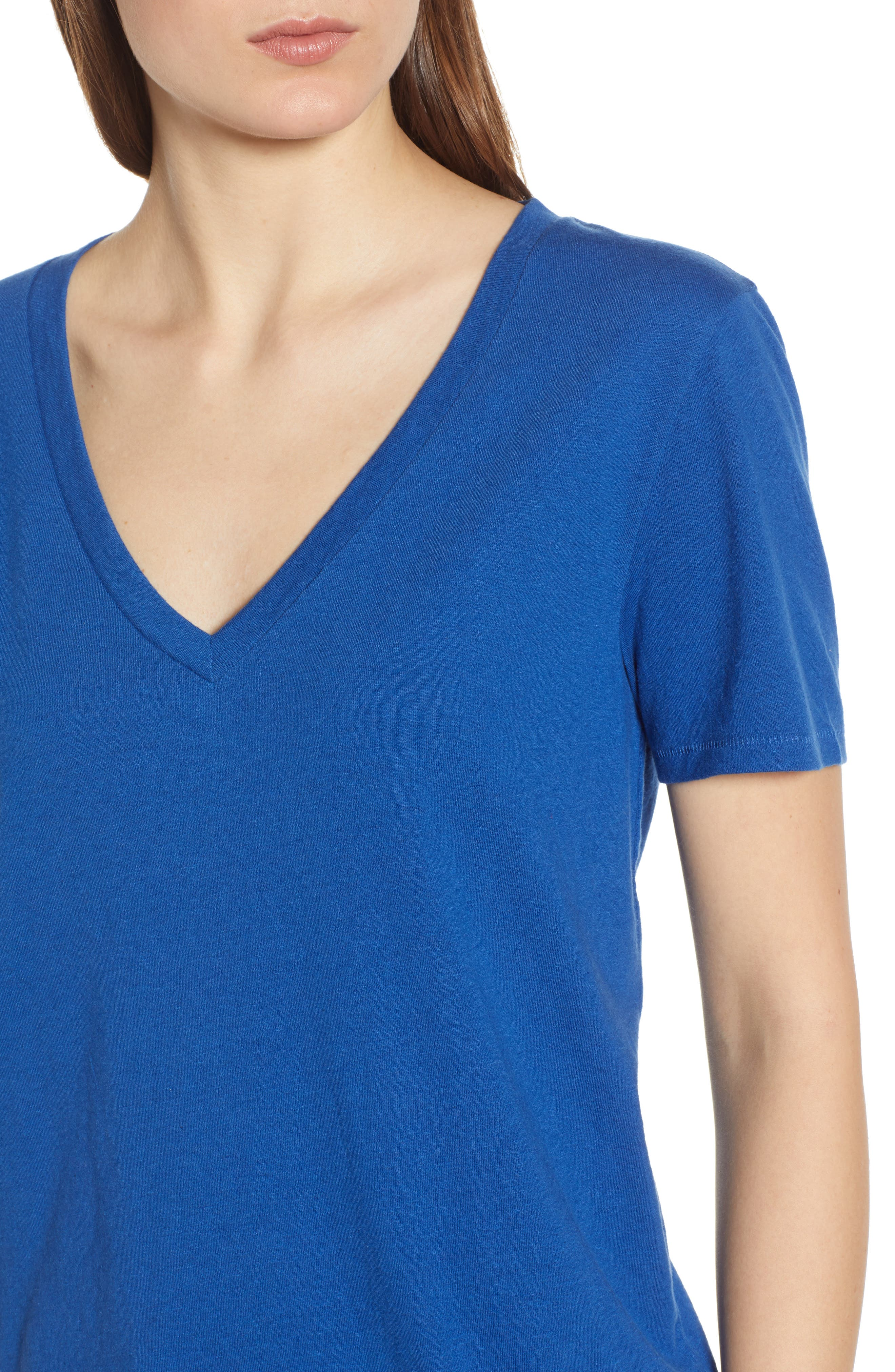 BP., V-Neck Tee, Alternate thumbnail 4, color, BLUE MONACO