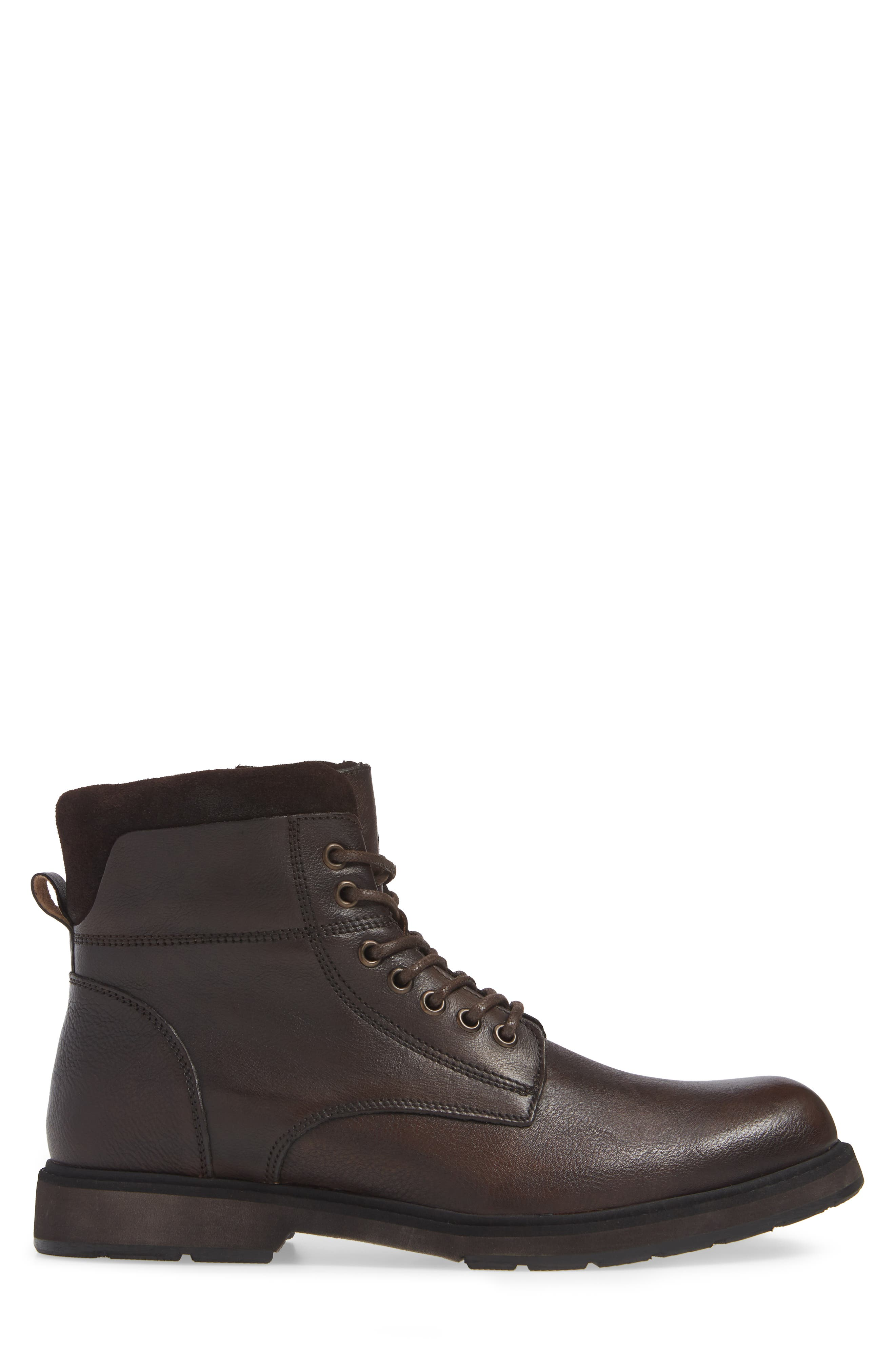 REACTION KENNETH COLE, Drue Pebbled Combat Boot, Alternate thumbnail 3, color, BROWN LEATHER