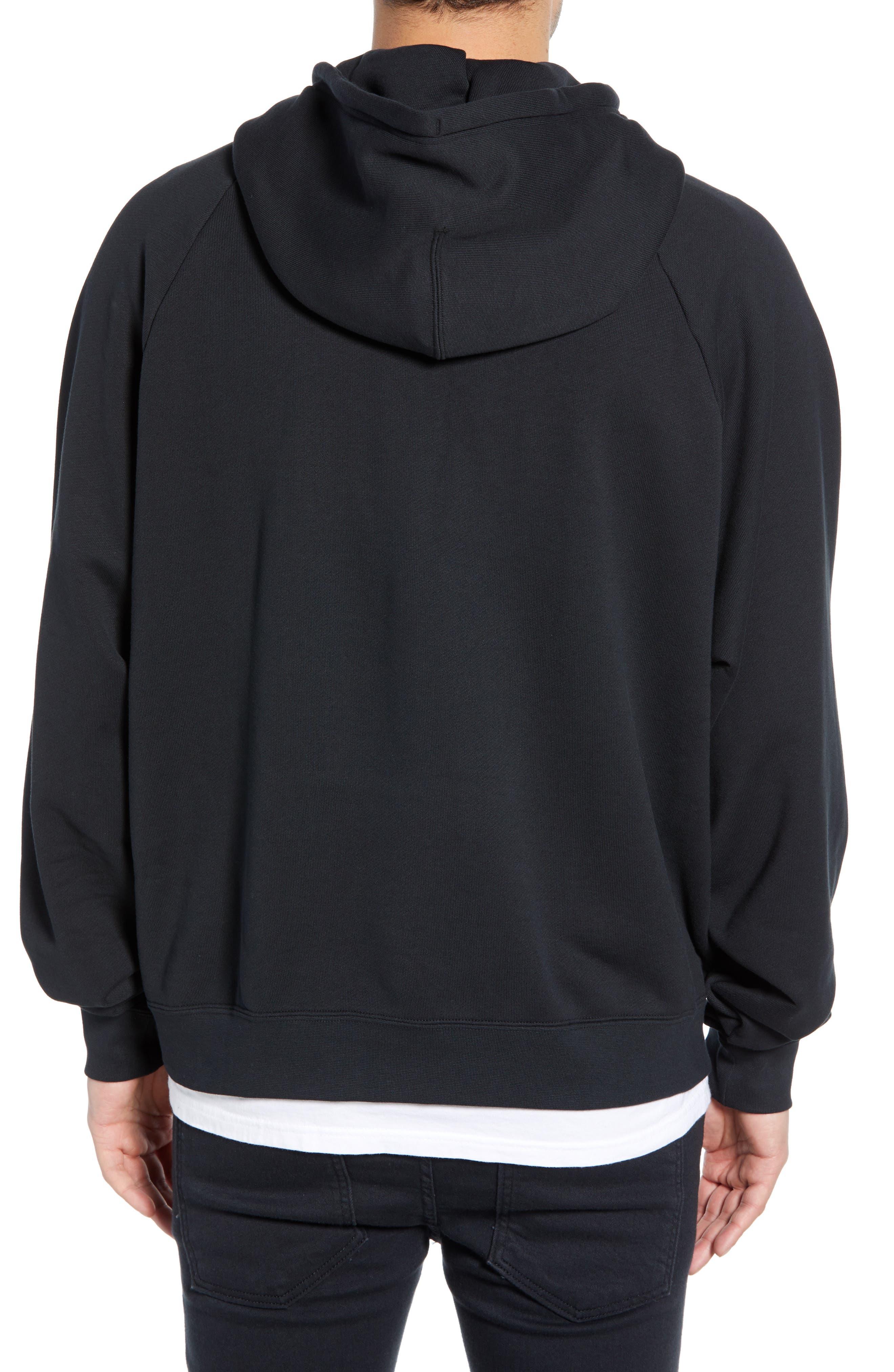 NIKE, Sportswear NSW Men's French Terry Hoodie, Alternate thumbnail 2, color, BLACK/ WHITE
