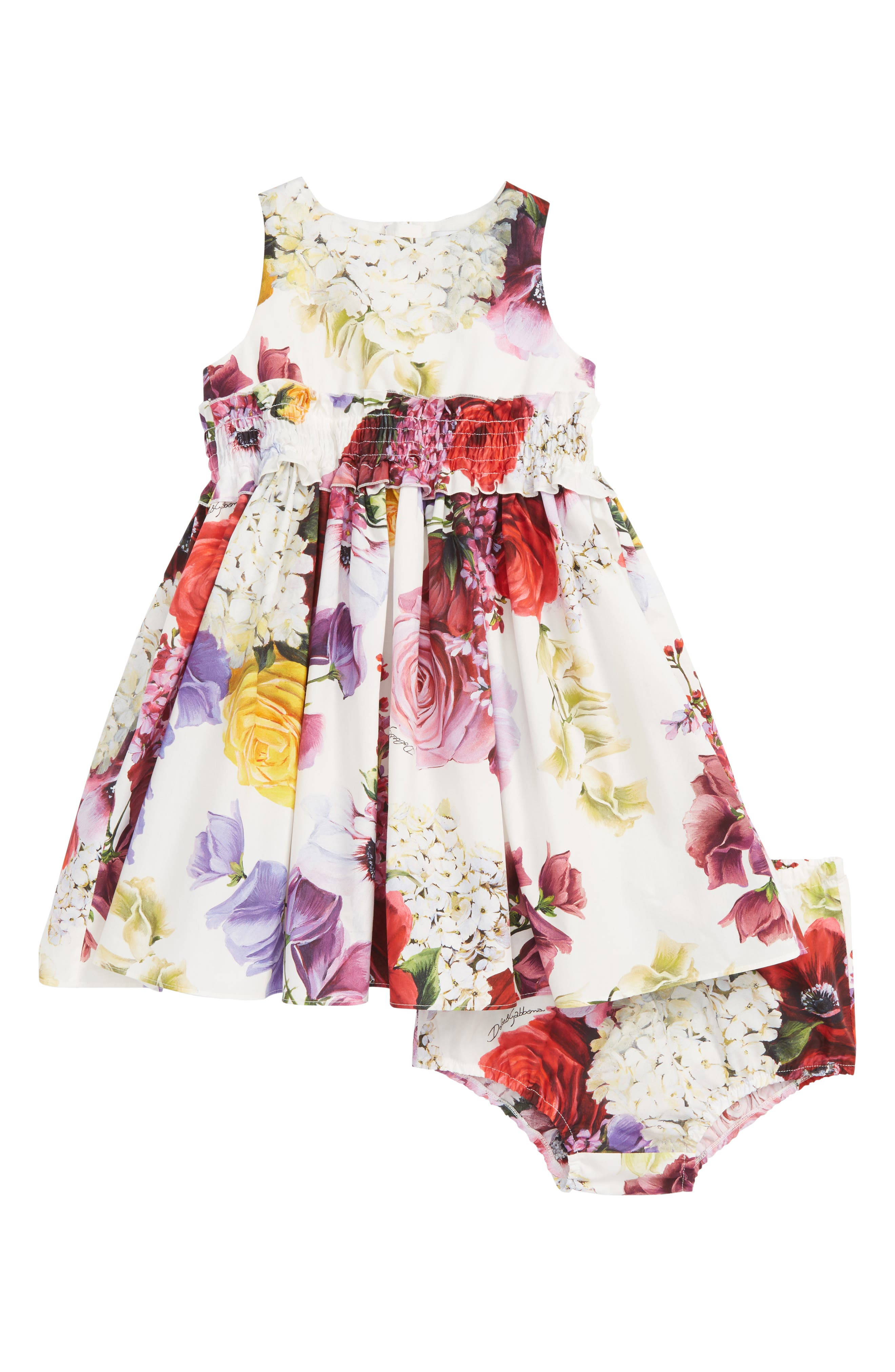 DOLCE&GABBANA, Abito Floral Fit & Flare Dress, Main thumbnail 1, color, ORTENSIE/ FIORI F NAT