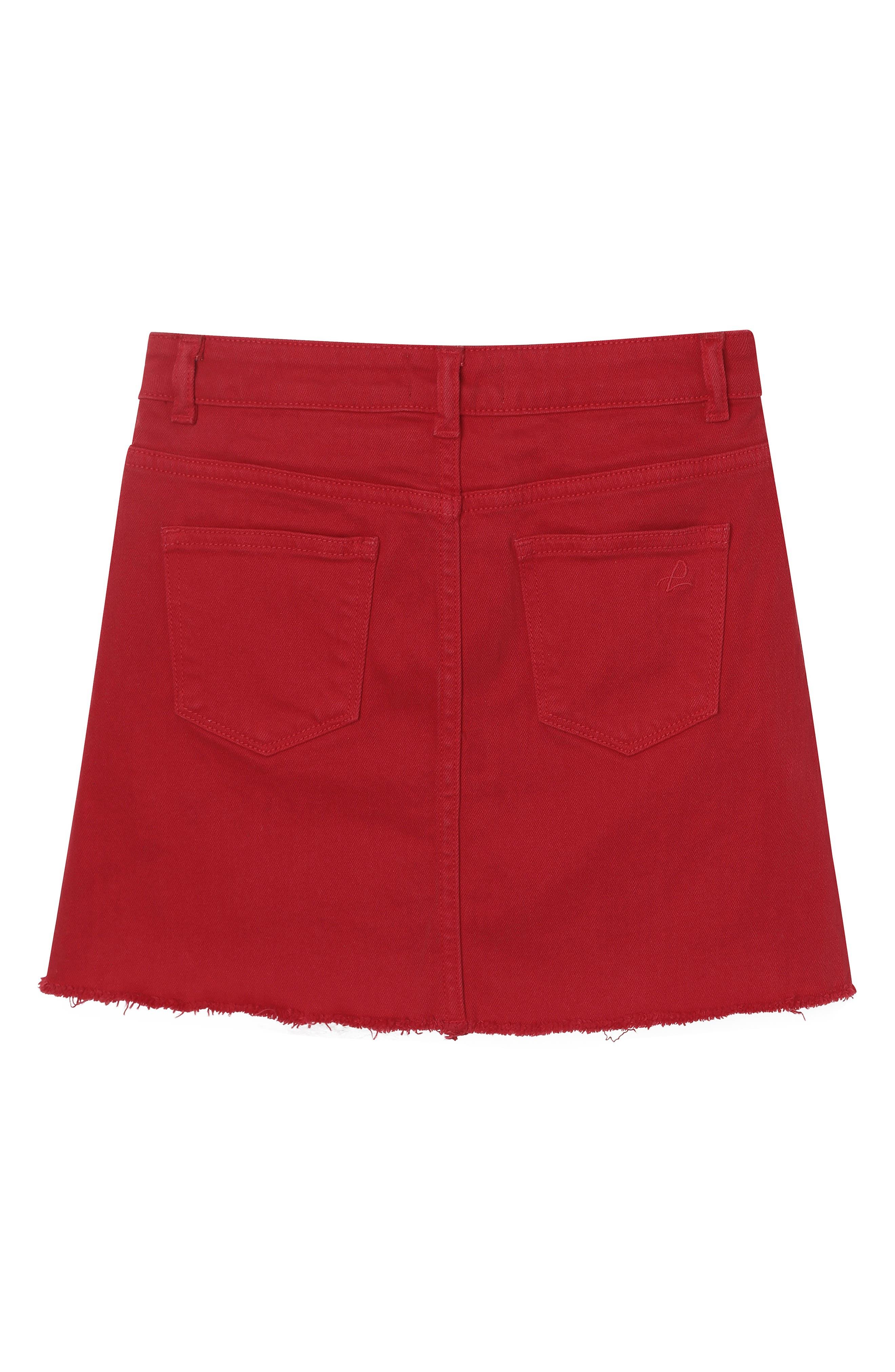 DL1961, Raw Hem Denim Miniskirt, Alternate thumbnail 2, color, VERY CHERRY