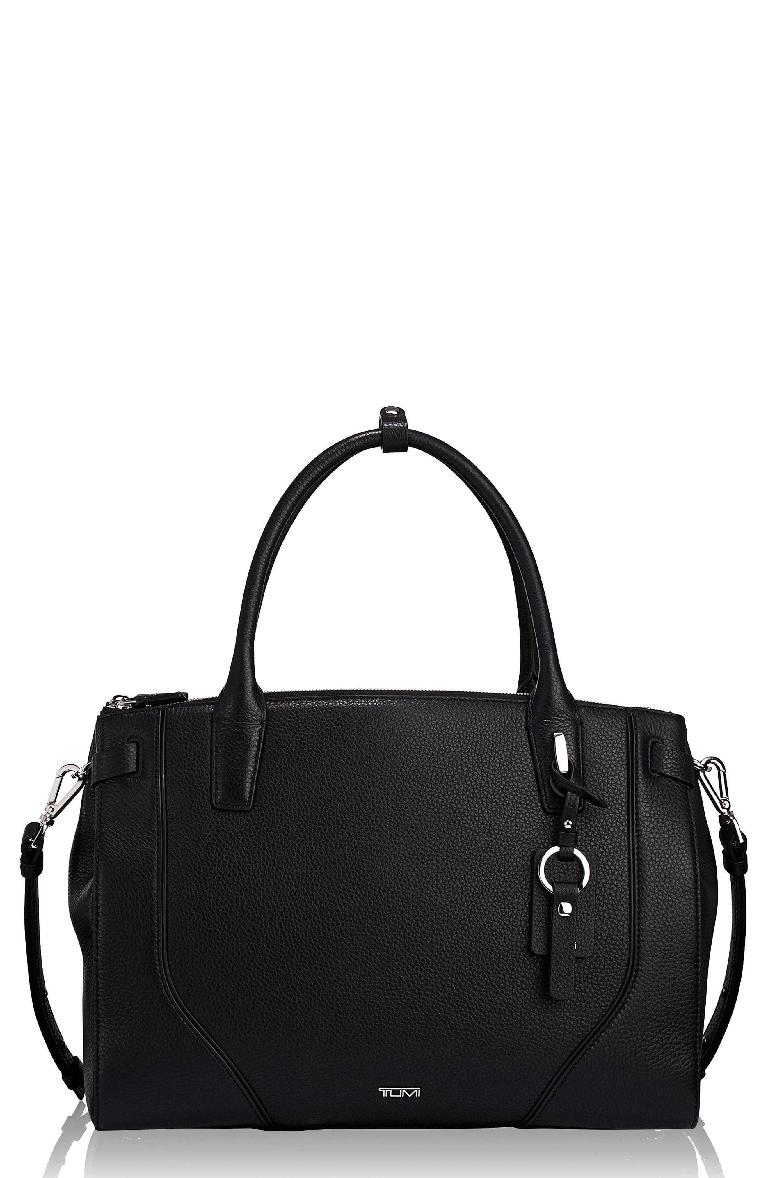 TUMI, Stanton Kiran Leather Laptop Briefcase, Main thumbnail 1, color, BLACK