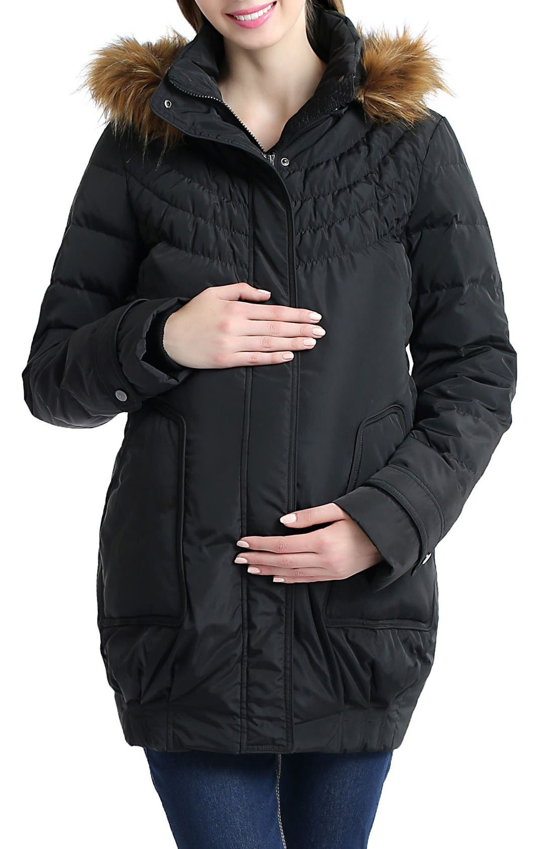 KIMI AND KAI 'Arlo' Water Resistant Down Maternity Parka with Baby Carrier Cover Inset, Main, color, BLACK