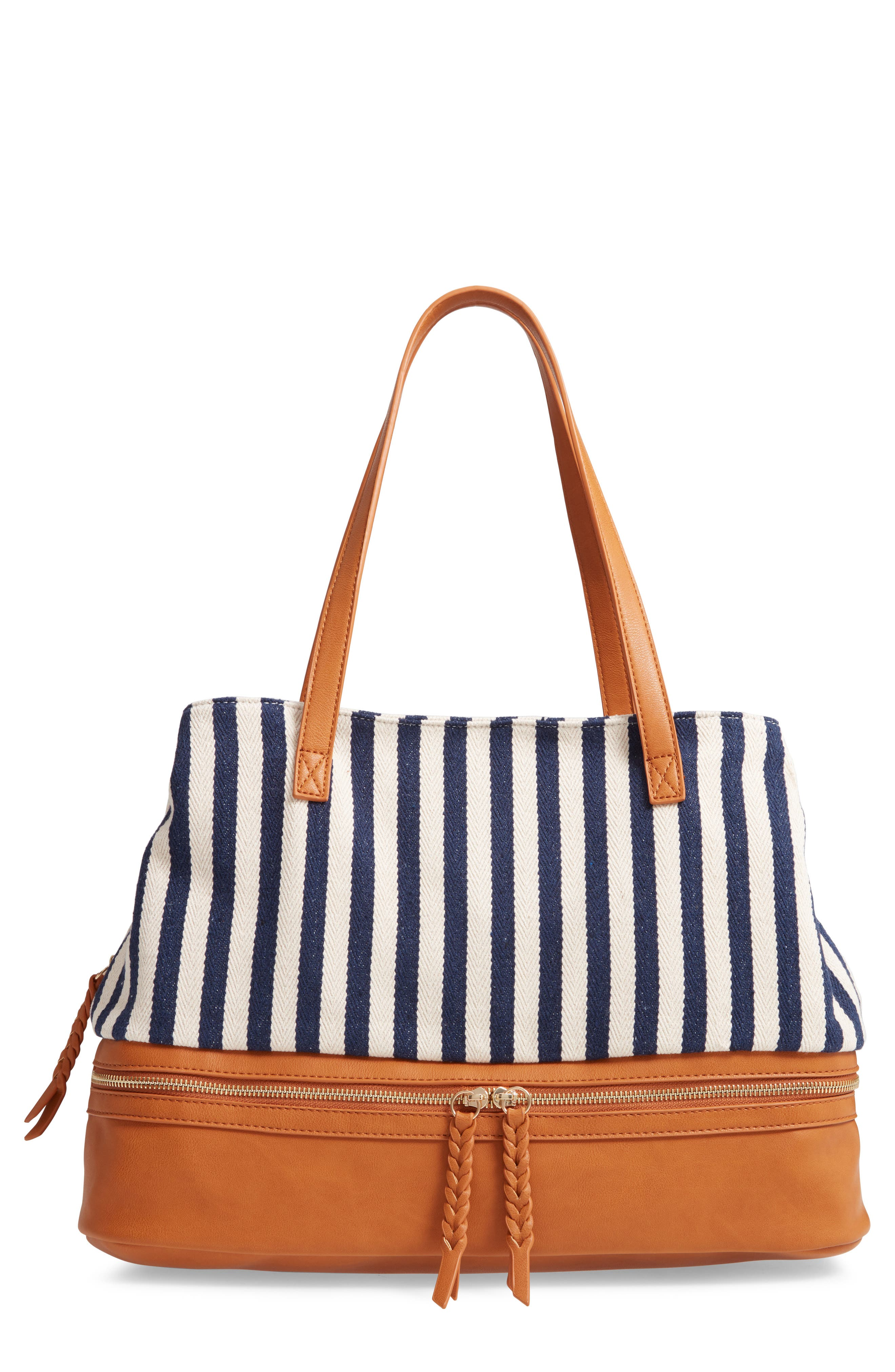 STREET LEVEL, Faux Leather Trim Weekend Bag with Shoe Base, Main thumbnail 1, color, 400
