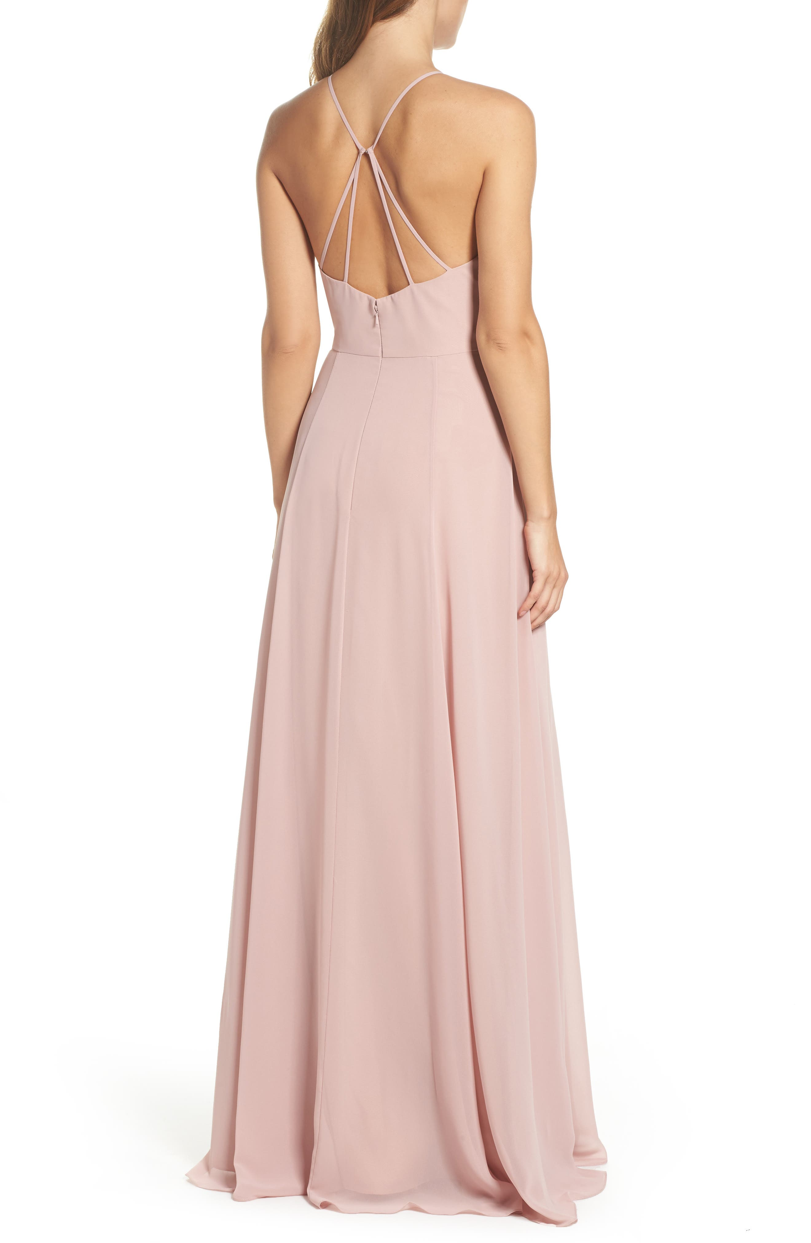 JENNY YOO, Kayla A-Line Halter Gown, Alternate thumbnail 2, color, WHIPPED APRICOT