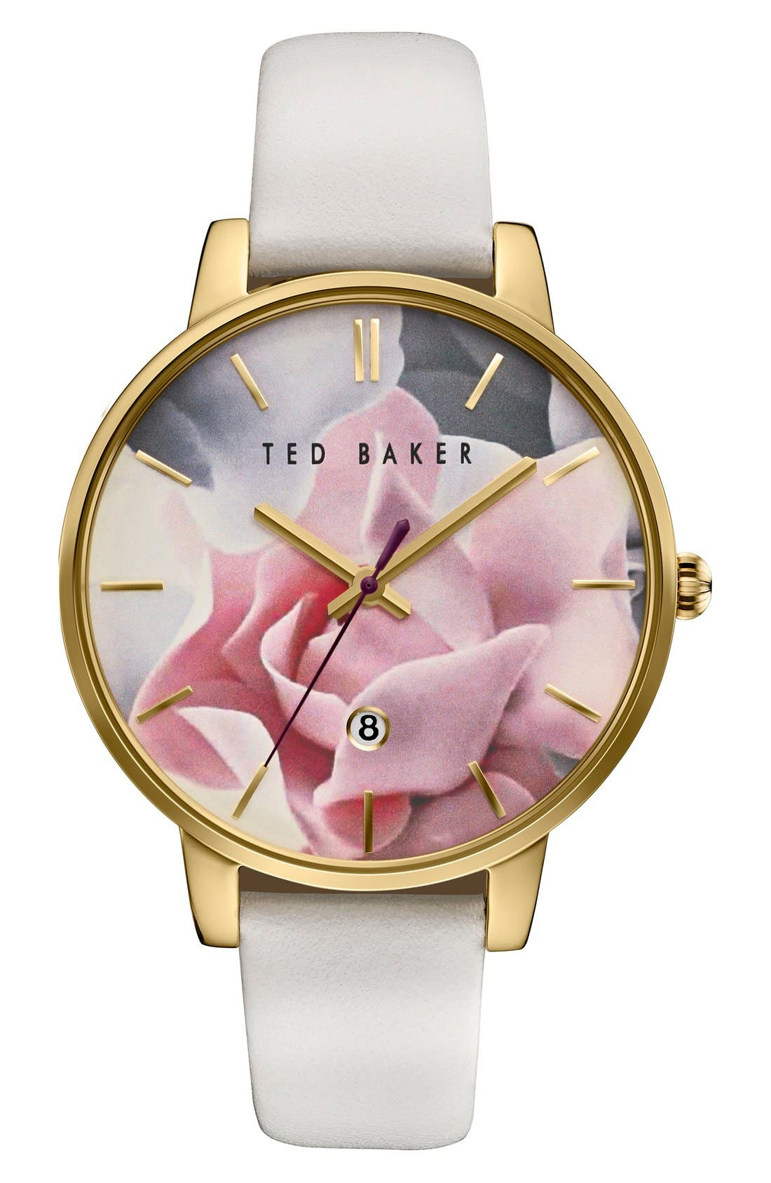 TED BAKER LONDON, Leather Strap Watch, 40mm, Main thumbnail 1, color, 100