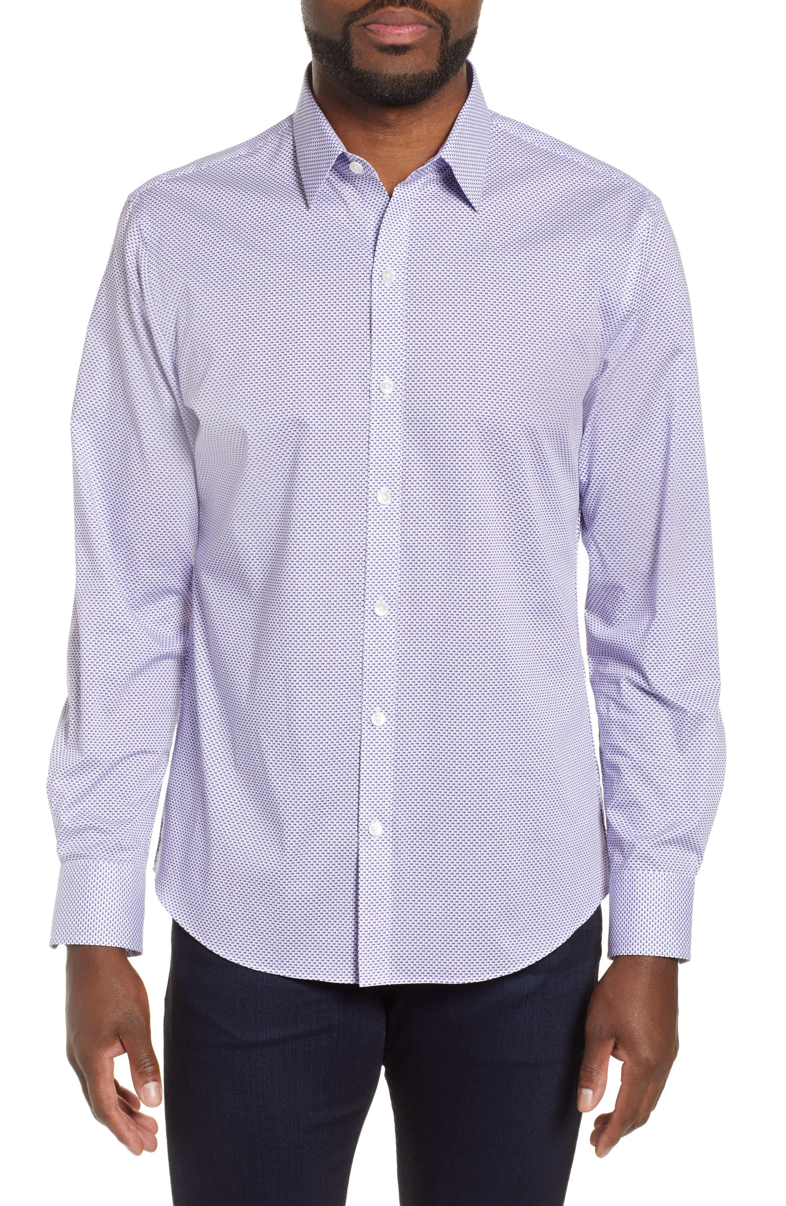 ZACHARY PRELL, Wilson Regular Fit Micro Print Sport Shirt, Main thumbnail 1, color, PURPLE