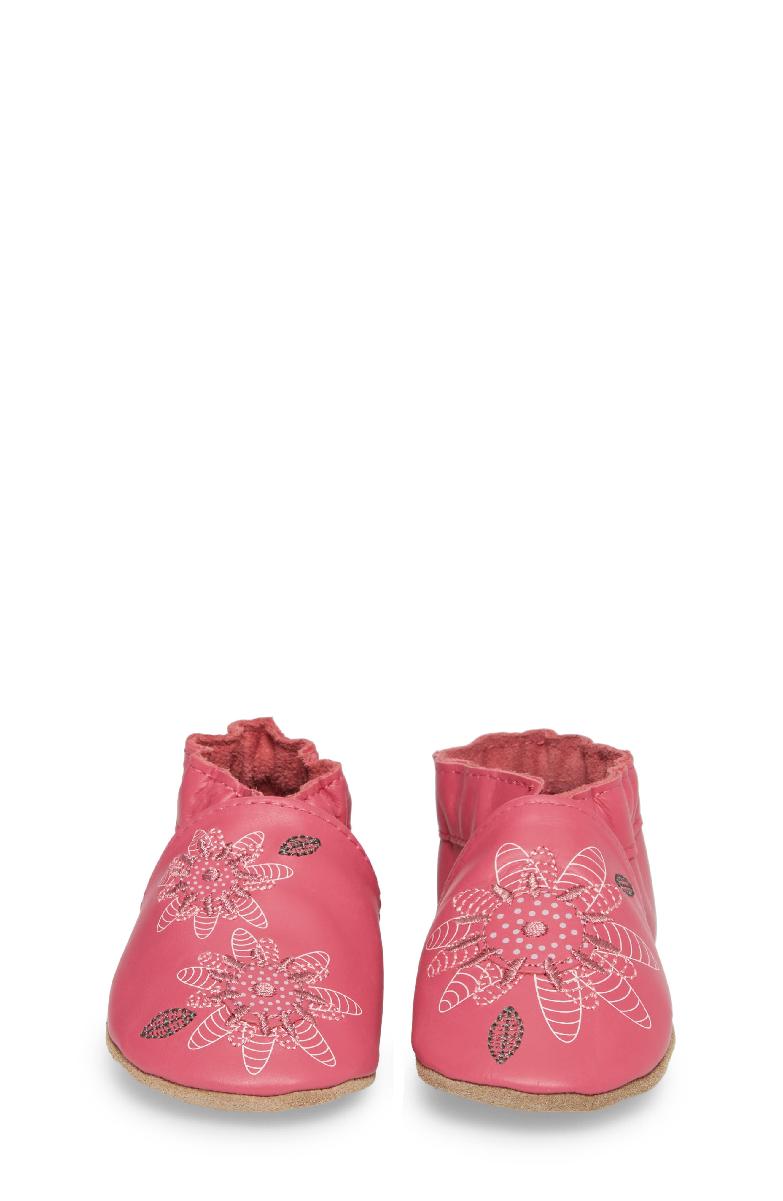 ROBEEZ<SUP>®</SUP>, Fiona Flower Moccasin Crib Shoe, Alternate thumbnail 4, color, HOT PINK