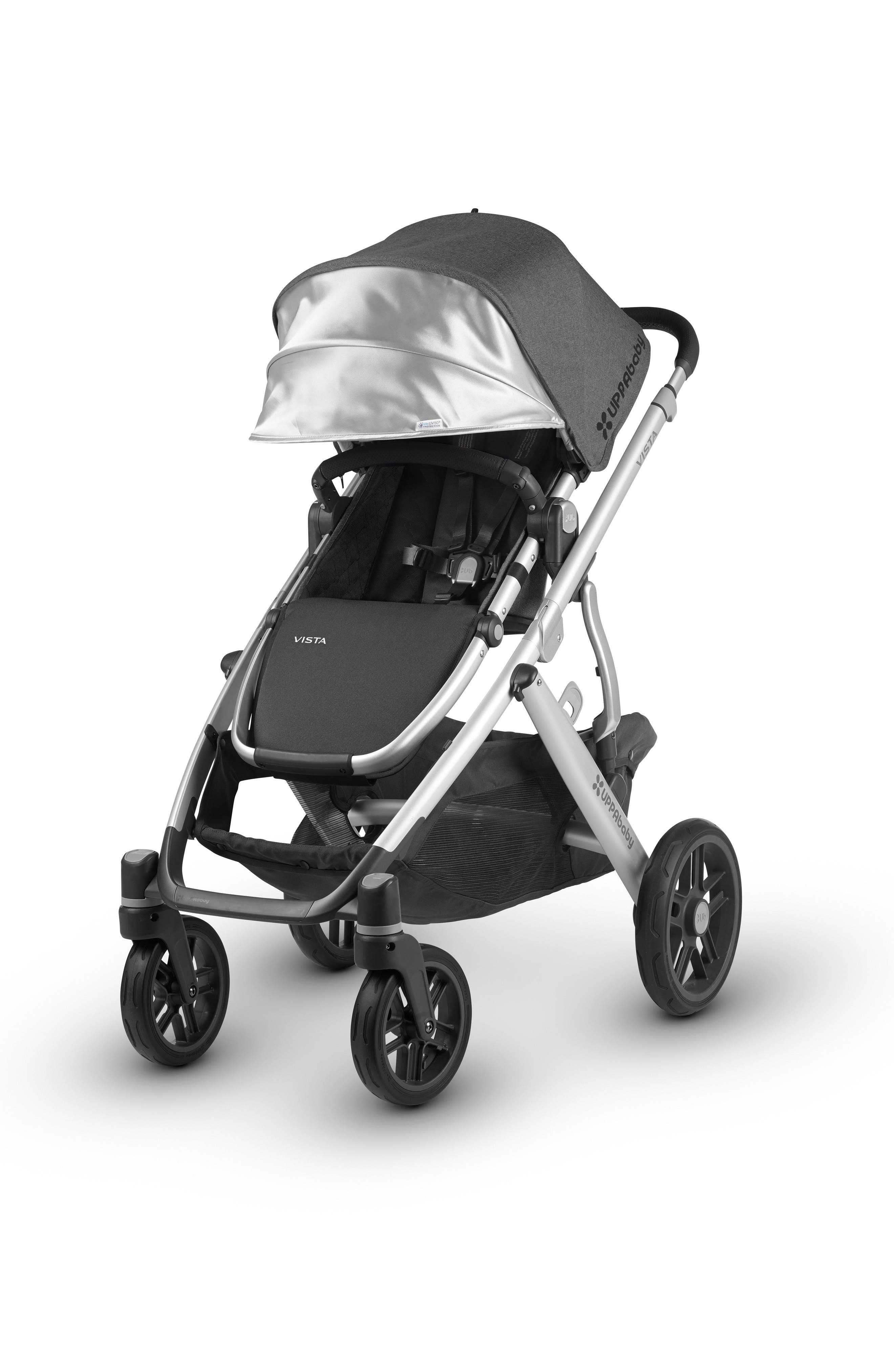 UPPABABY, 2018 VISTA Aluminum Frame Convertible Complete Stroller with Leather Trim, Alternate thumbnail 3, color, JORDAN CHARCOAL/ SILVER