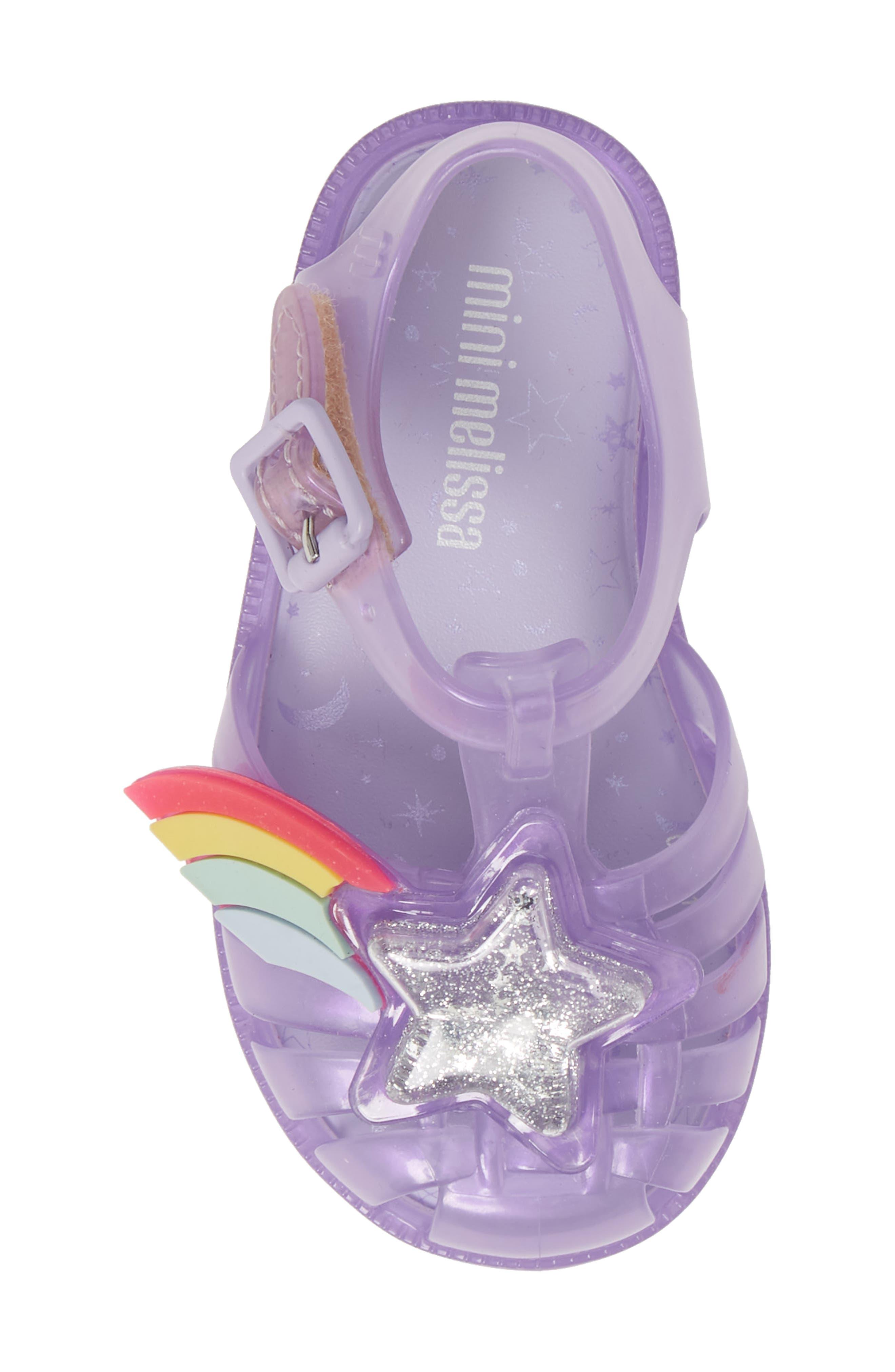 MINI MELISSA, Possession II Glitter Sandal, Alternate thumbnail 5, color, PURPLE