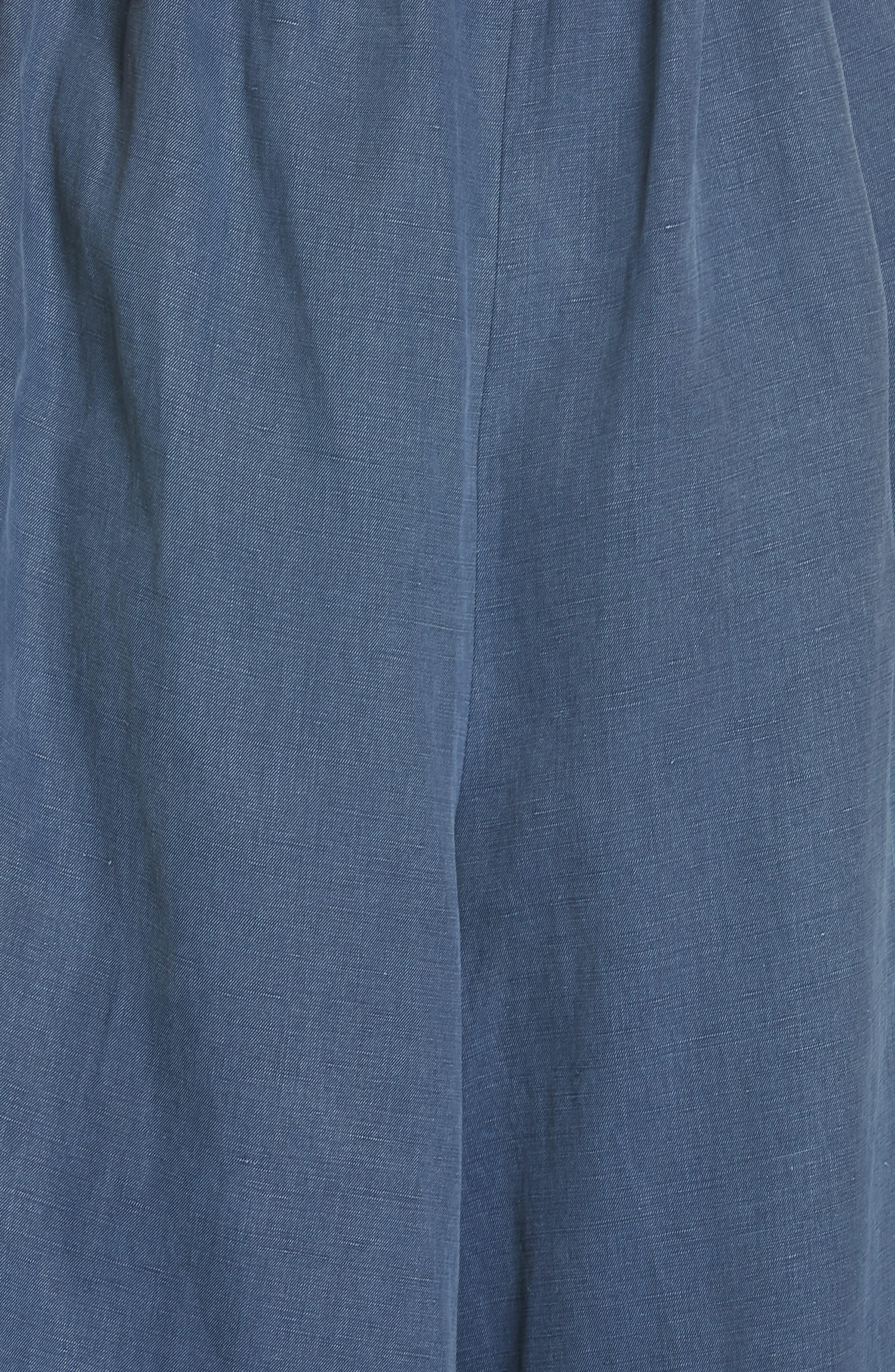 ULLA JOHNSON, Jordane Strapless Wide Leg Jumpsuit, Alternate thumbnail 5, color, CHAMBRAY