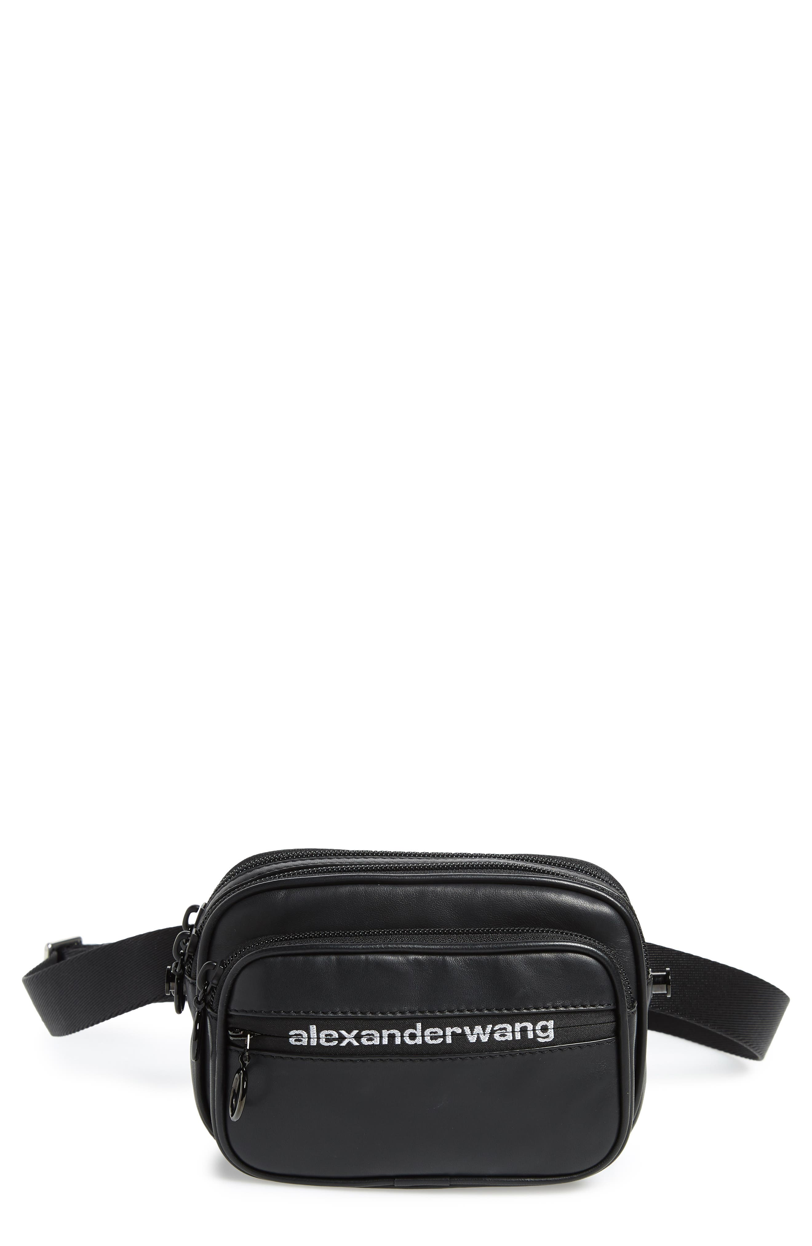 ALEXANDER WANG, Attica Logo Leather Belt Bag, Main thumbnail 1, color, BLACK